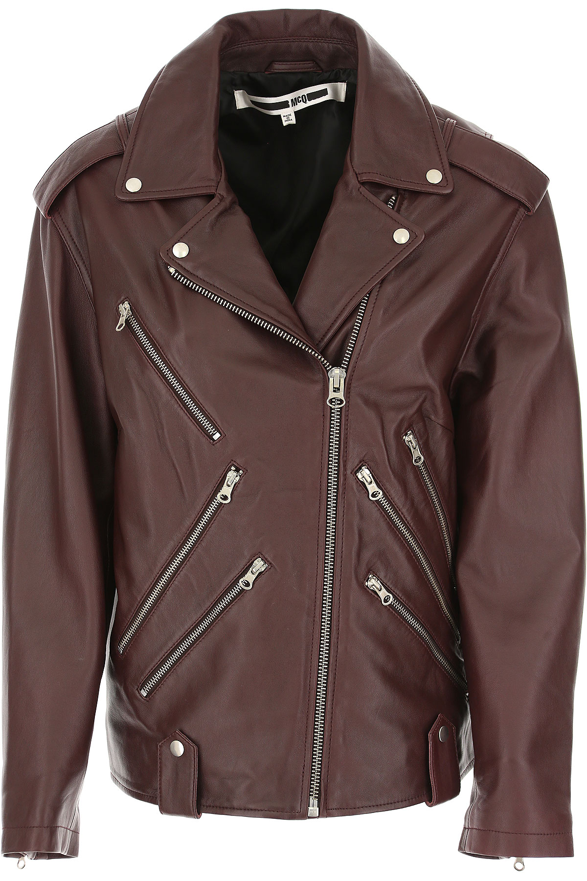 Image of Alexander McQueen McQ Leather Jacket for Women, Bordeaux, Leather, 2017, UK 6 - US 4 - EU 38 UK 8 - US 6 - EU 40 UK 10 - US 8 - EU 42 UK 12 - US 10 - EU 44