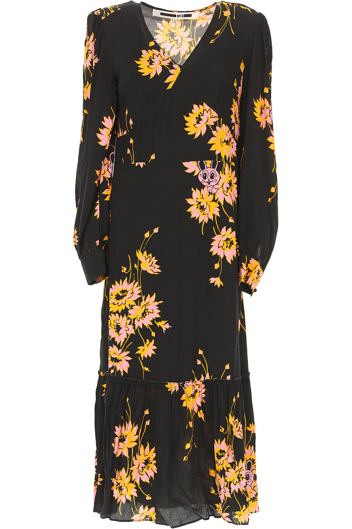Image of Alexander McQueen McQ Dress for Women, Evening Cocktail Party, Black, polyester, 2017, UK 6 - US 4 - EU 38 UK 8 - US 6 - EU 40 UK 10 - US 8 - EU 42 UK 12 - US 10 - EU 44