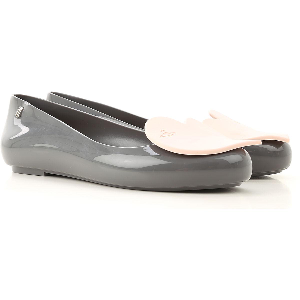 Melissa Ballet Flats Ballerina Shoes for Women On Sale, Dark Grey, PVC, 2019, USA 5 - EUR 35/36 USA 6 - EUR 37 USA 7 - EUR 38 USA 8 - EUR 39 USA 9 - E