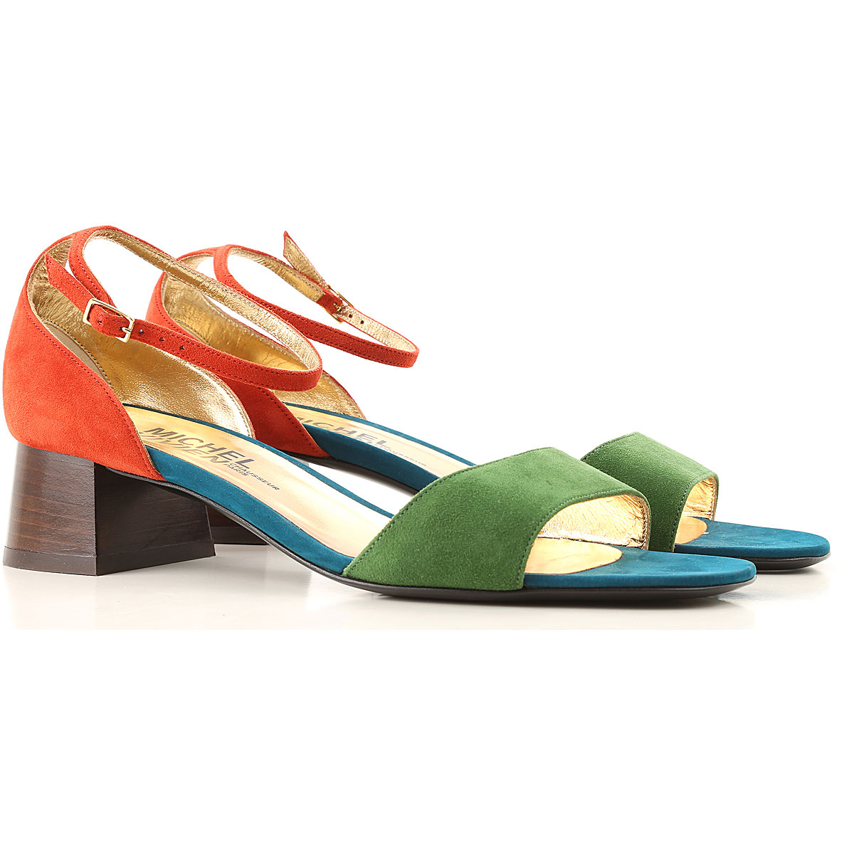 Michel Vivien Sandals for Women On Sale in Outlet, Green, Suede leather, 2019, 10 8.5