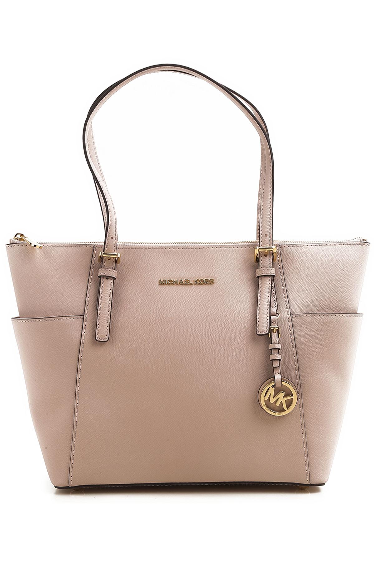Michael Kors Tote Bag On Sale, soft pink, Leather, 2017