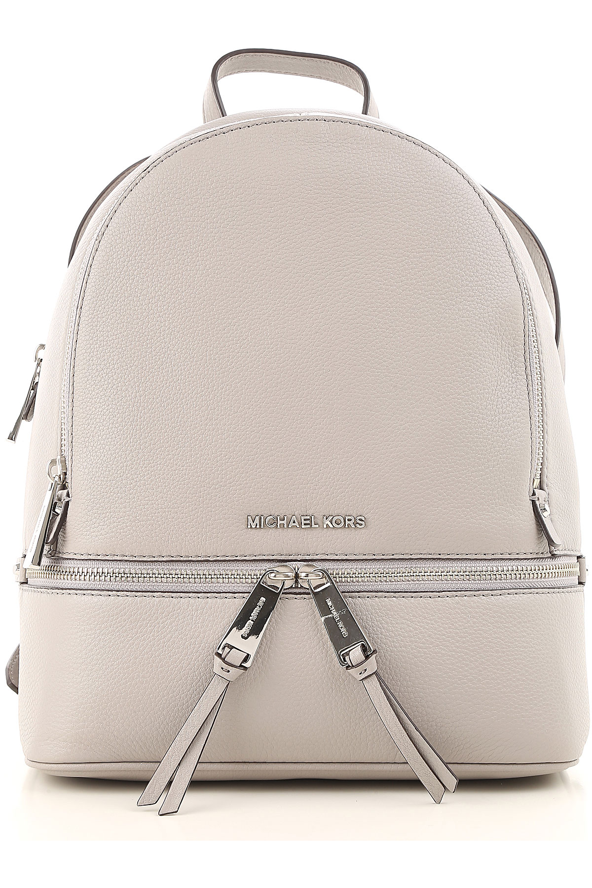 Image of Michael Kors Backpack for Women On Sale, Pearl Grey, Leather, 2017