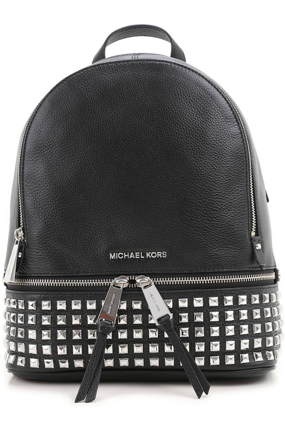 Image of Michael Kors Backpack for Women, Rhea Zip, Black, Leather, 2017
