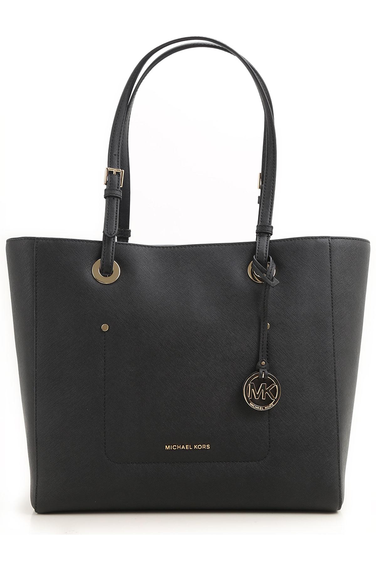 Michael Kors Tote Bag On Sale, Black, Leather, 2017