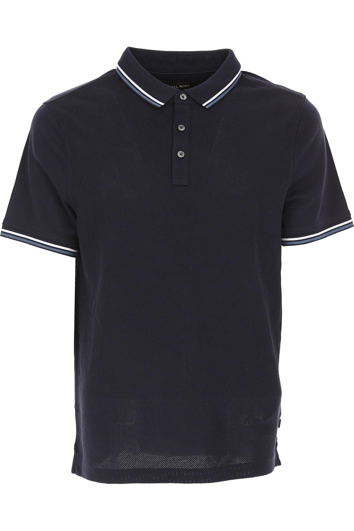 Michael Kors Мужская рубашка поло В продаже в аутлете, Темная полночь, Хлопок, 2017, L XL