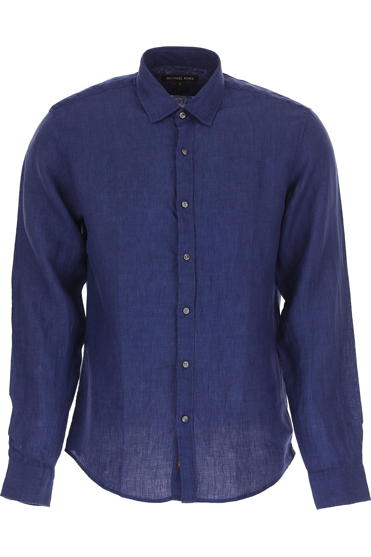 Michael Kors Shirt for Men On Sale, Dark Blue, linen, 2017, S ⢠IT 46 M ⢠IT 48 L ⢠IT 50 XL ⢠IT 52