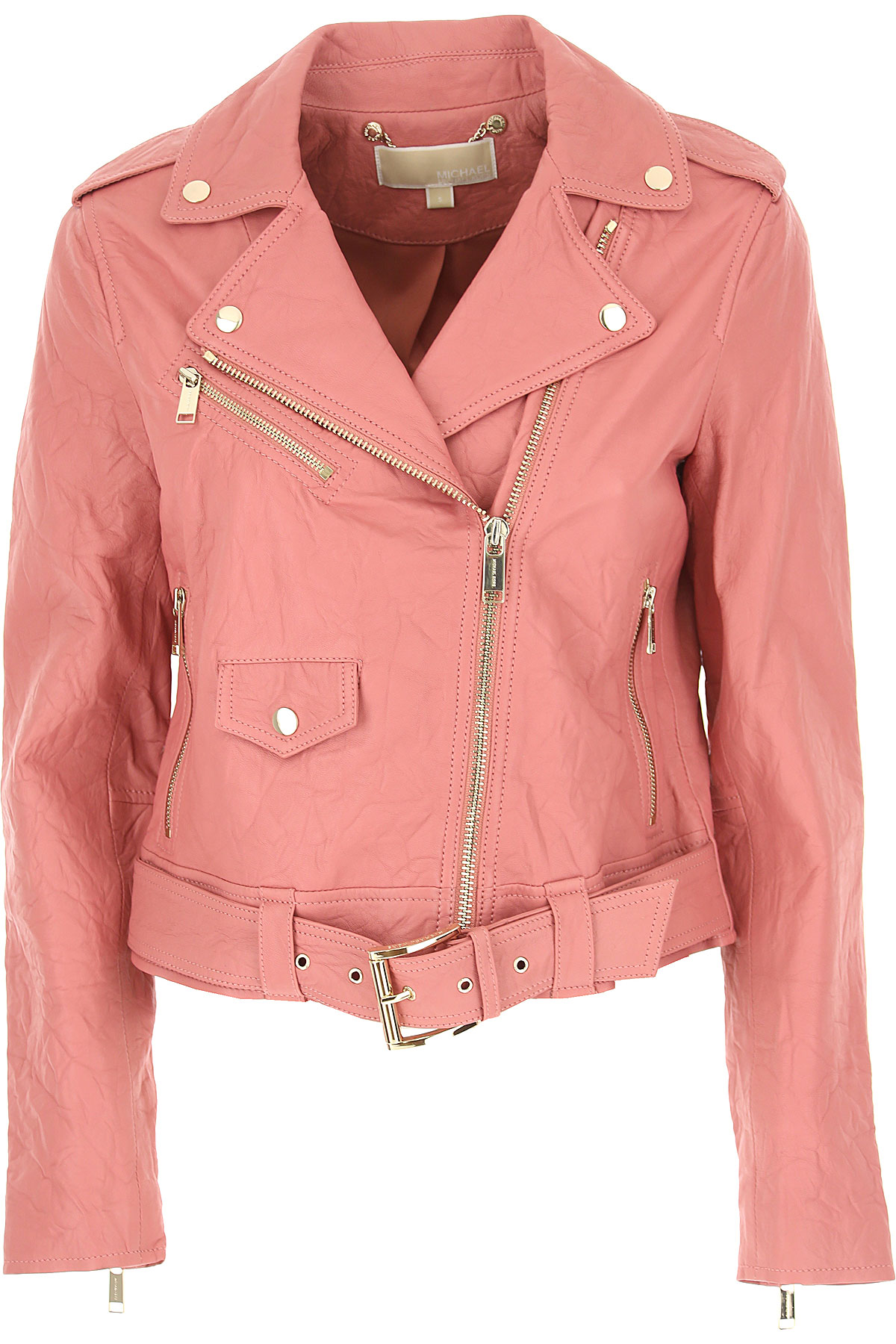 Michael Kors Leather Jacket for Women, Pale Pink, Leather, 2017, 2 4 6
