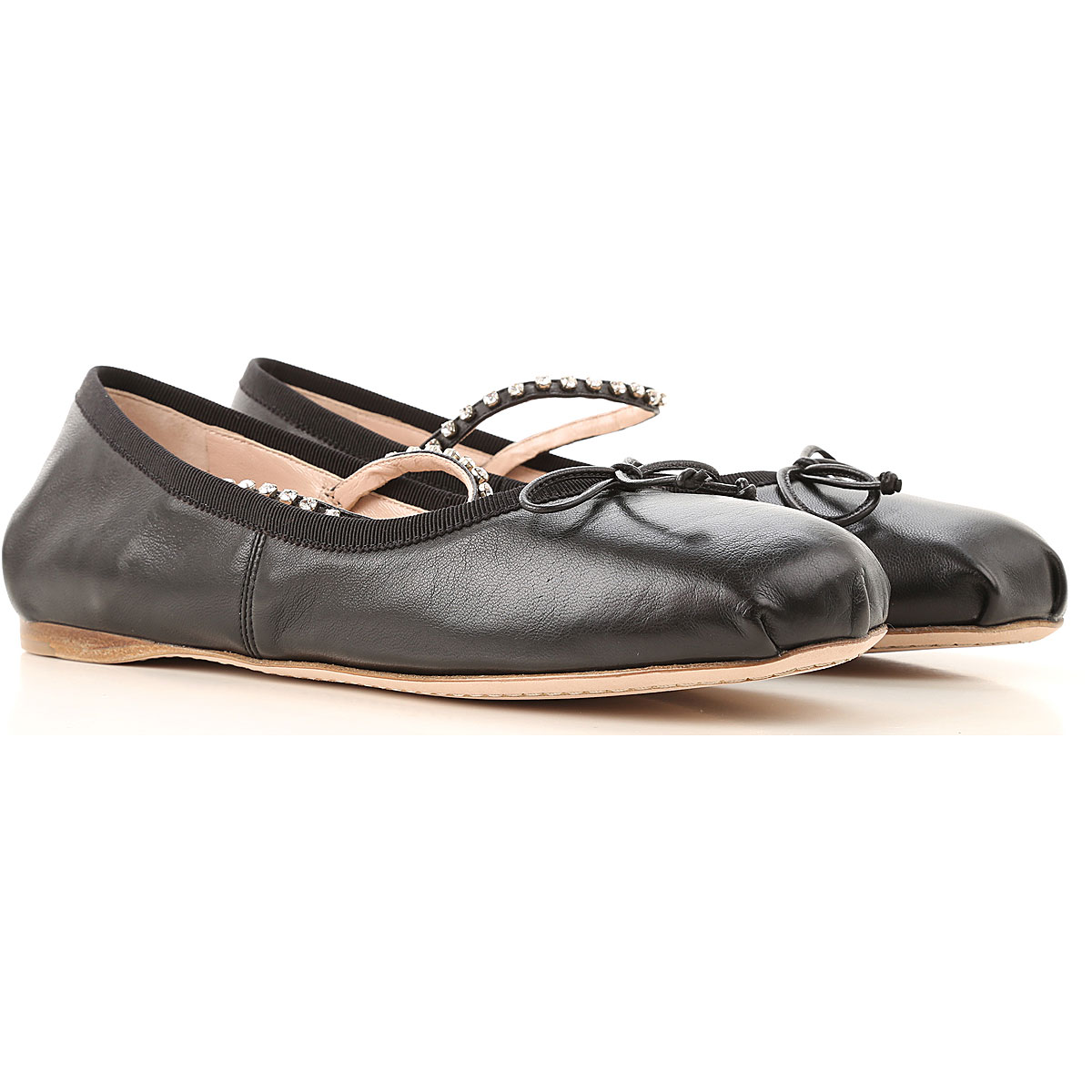 Miu Miu Ballet Flats Ballerina Shoes for Women On Sale, Black, Leather, 2019, 6 8