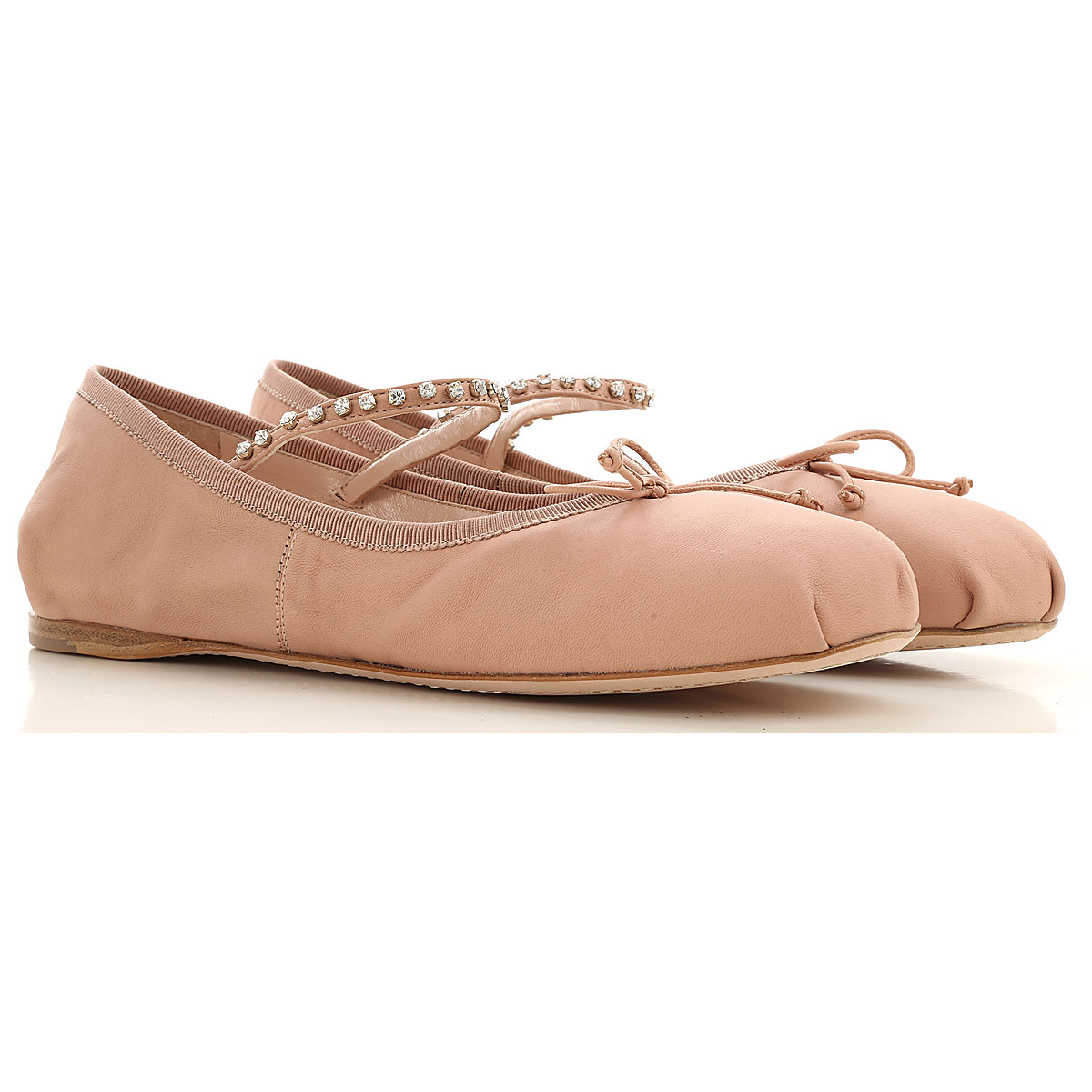 Miu Miu Ballet Flats Ballerina Shoes for Women On Sale, Nude, Leather, 2019, 7 8