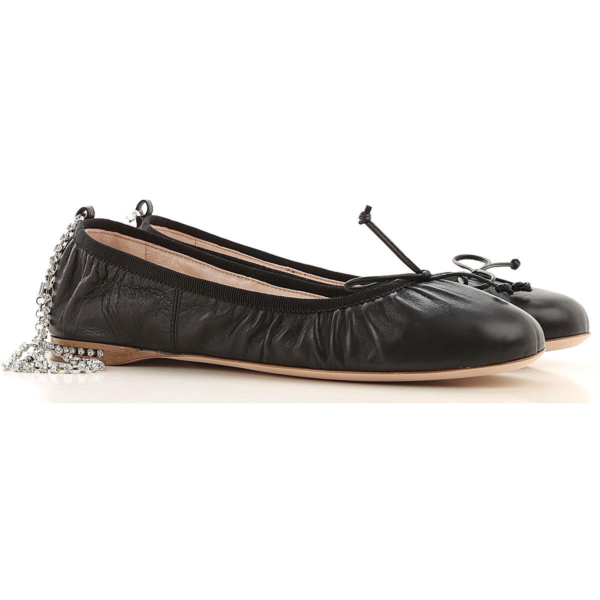 Miu Miu Ballet Flats Ballerina Shoes for Women On Sale, Black, Leather, 2019, 10 5.5 6 6.5 7 7.5 8 8.5 9