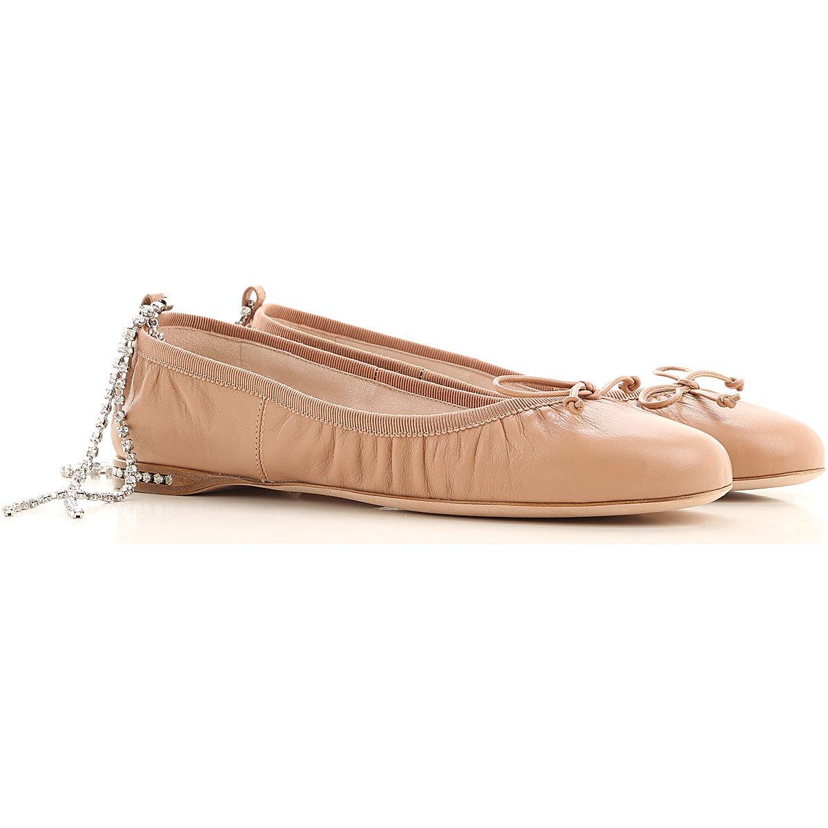 Miu Miu Ballet Flats Ballerina Shoes for Women On Sale, Nude, Leather, 2019, 10 5.5 6 6.5 7 7.5 8 8.5 9