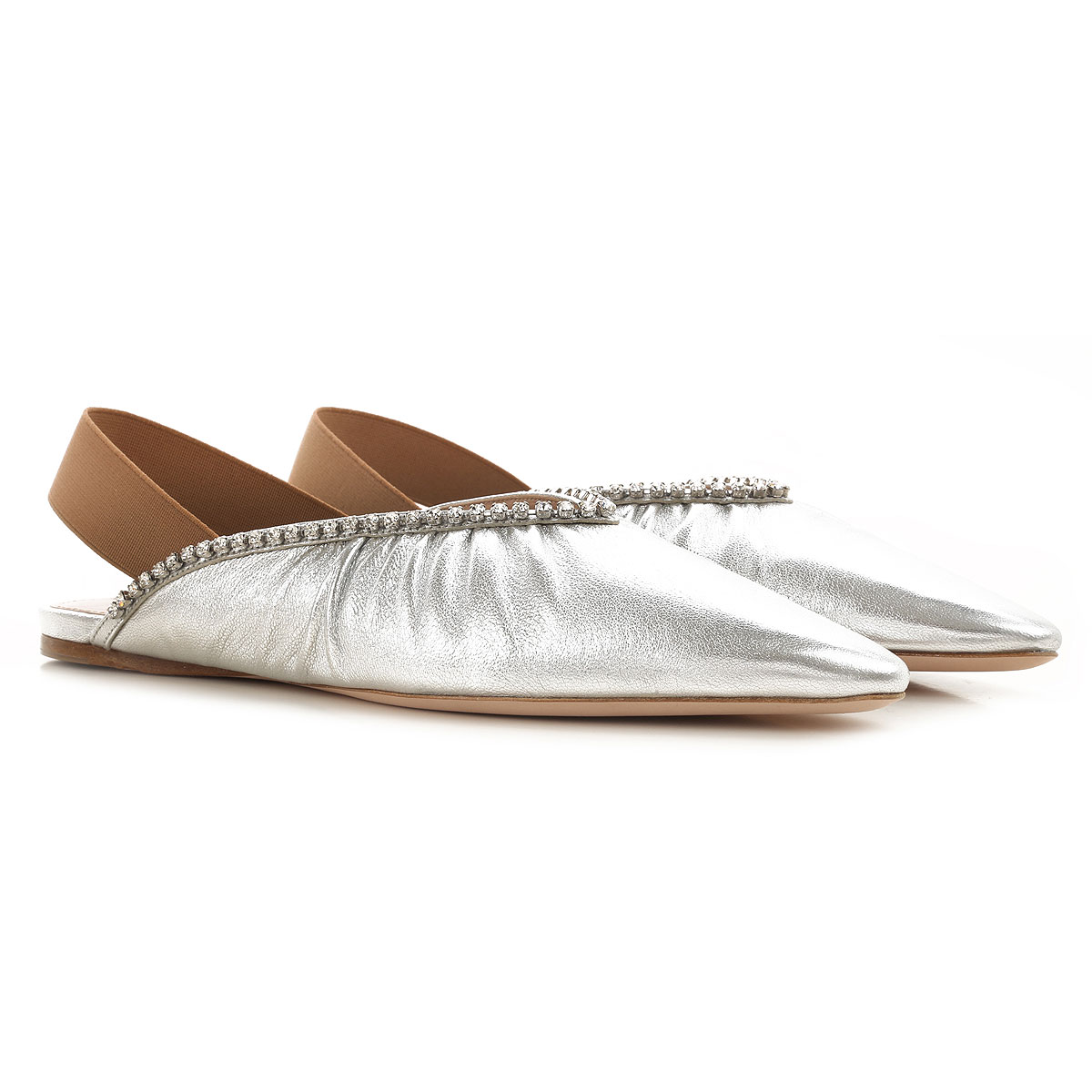 Miu Miu Ballet Flats Ballerina Shoes for Women On Sale, Silver, Leather, 2019, 10 6 7 7.5 8 8.5 9