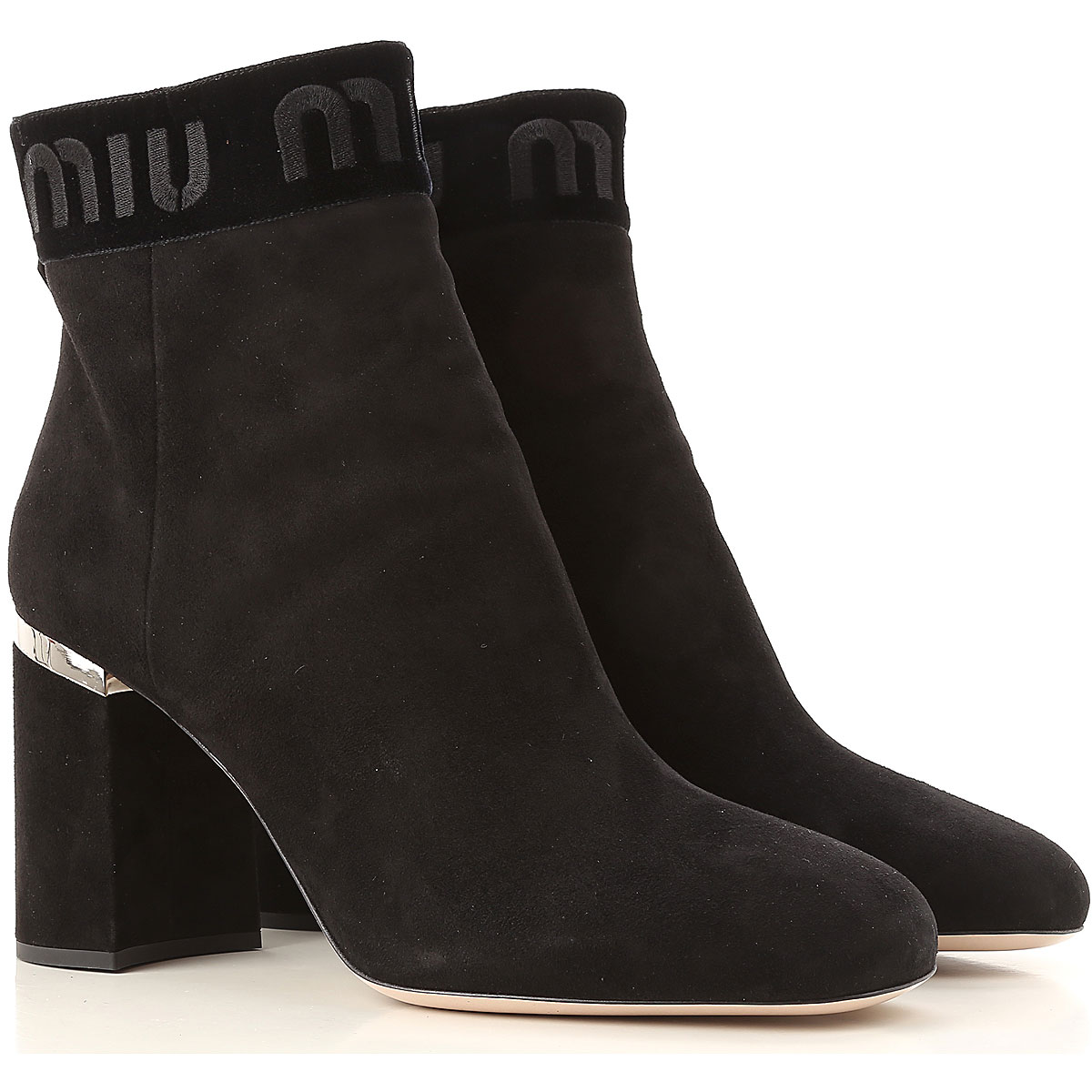 Image of Miu Miu Boots for Women, Booties, Black, Suede leather, 2017, 10 6 6.5 7 7.5 8 8.5 9 9.5