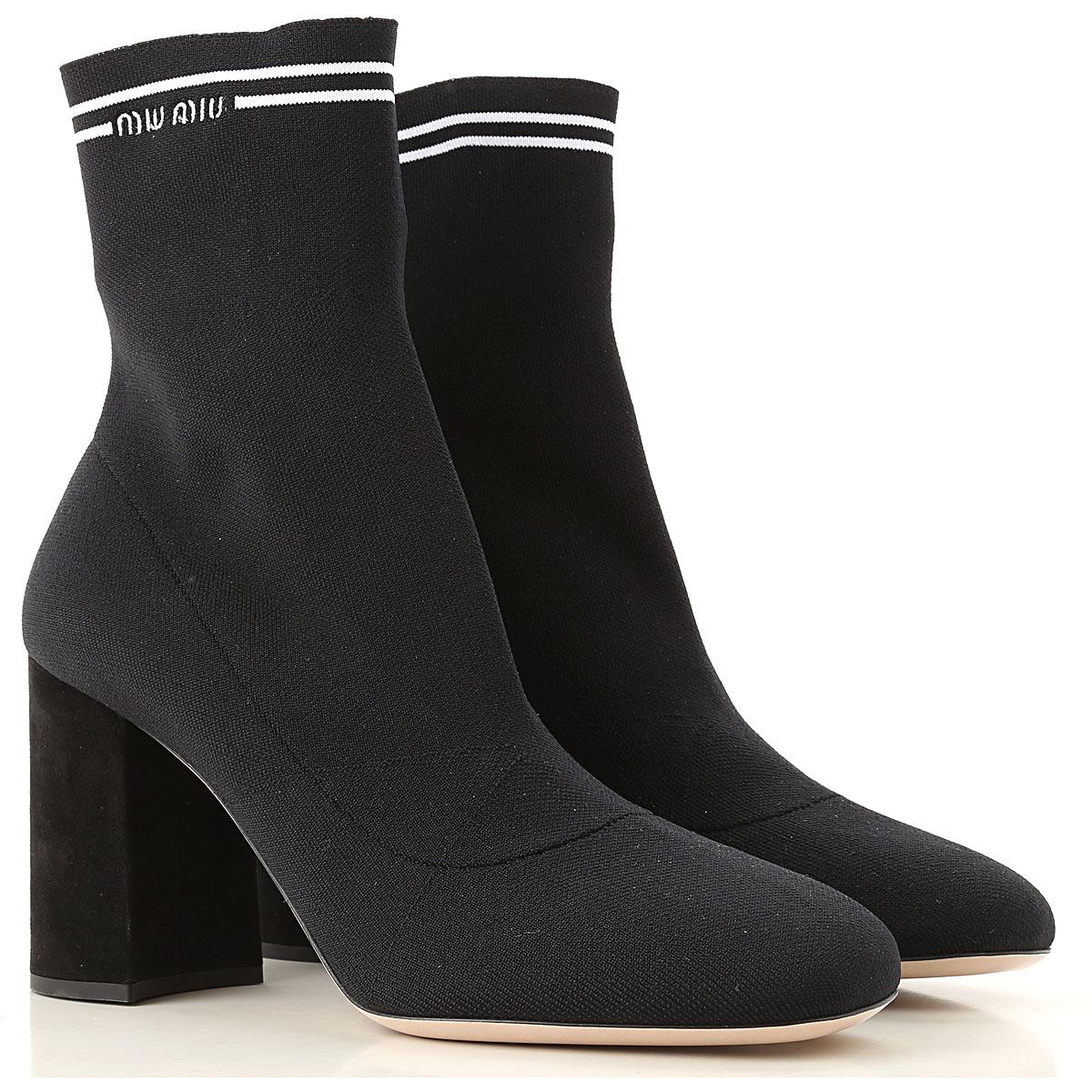 Image of Miu Miu Boots for Women, Booties, Black, Elastane, 2017, 10 8 8.5 9