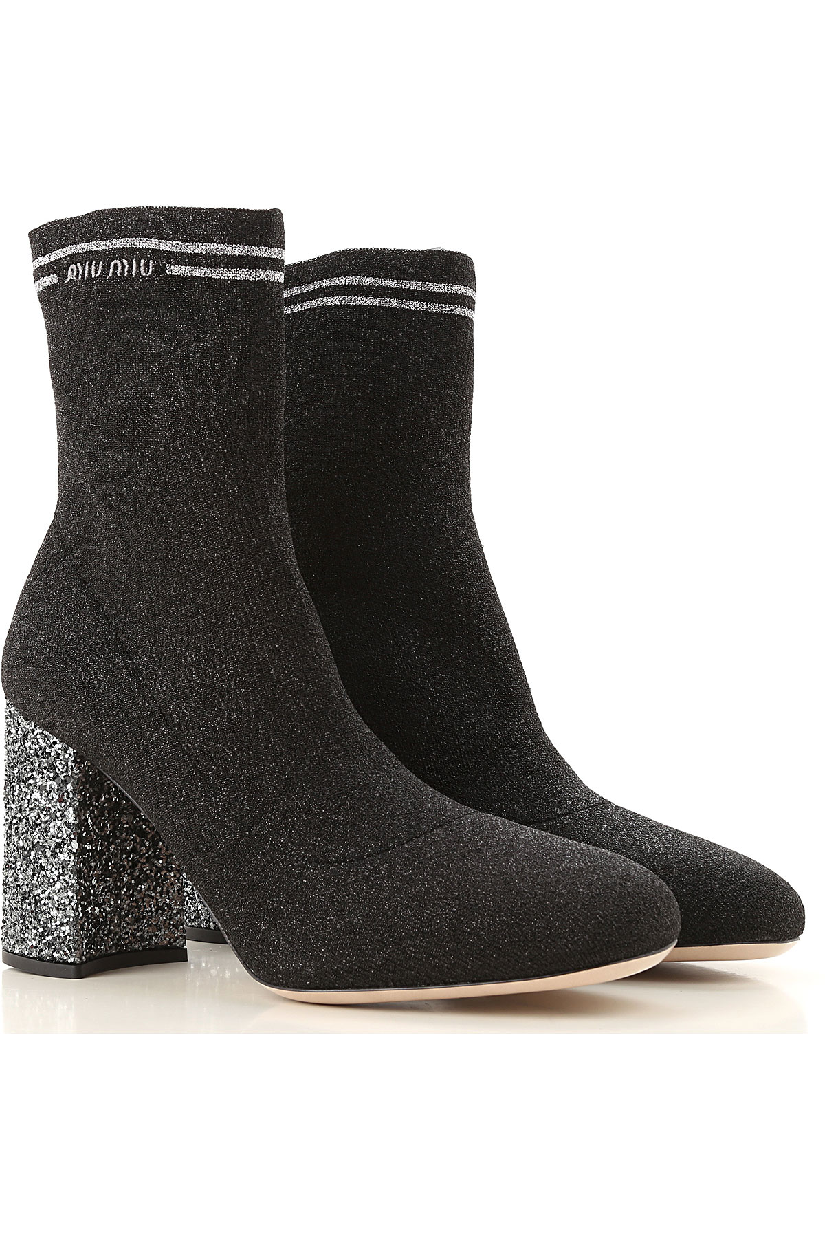 Miu Miu Boots for Women, Booties On Sale, Black, lurex, 2019, 7 7.5 8