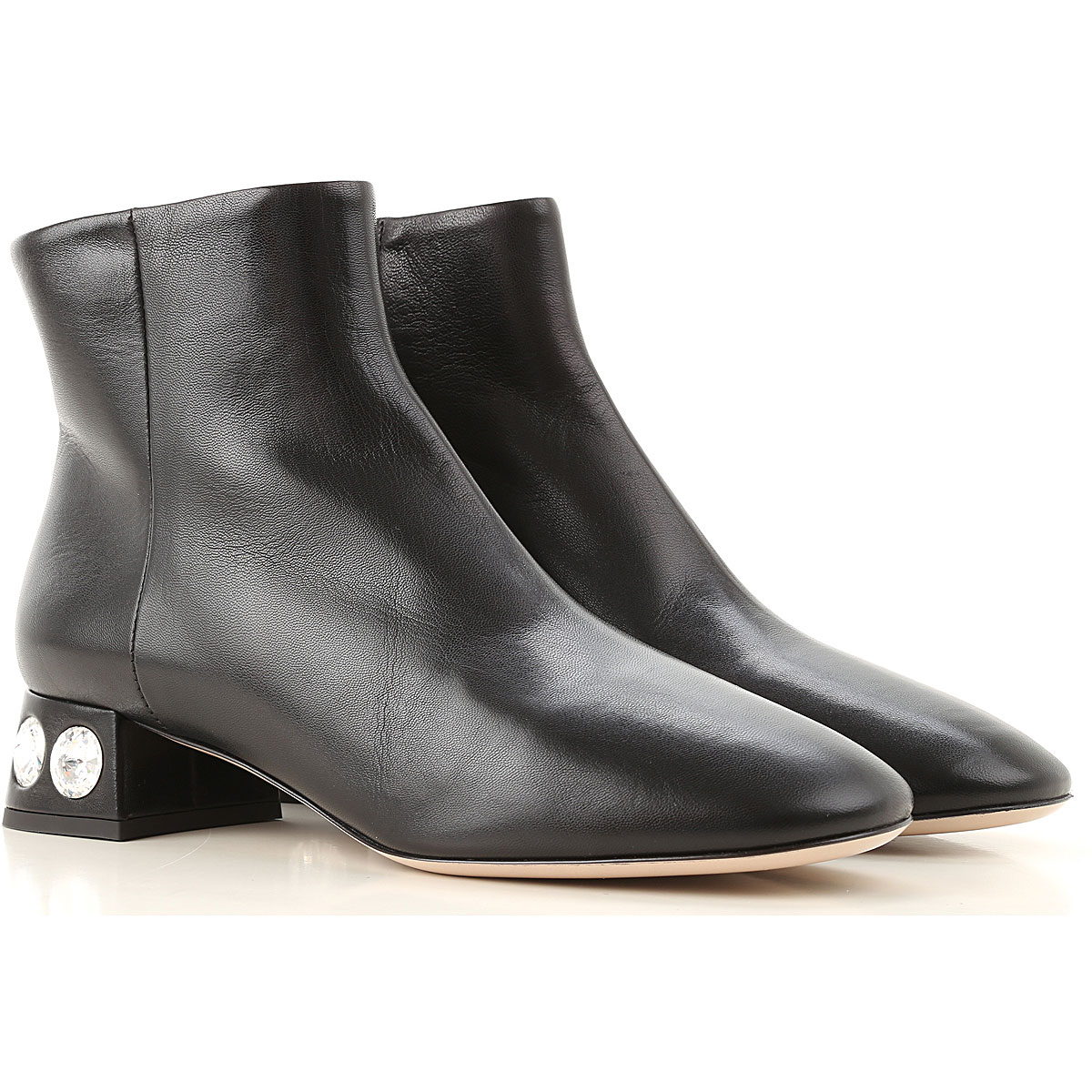 Miu Miu Boots for Women, Booties On Sale, Black, Leather, 2019, 10 5 6