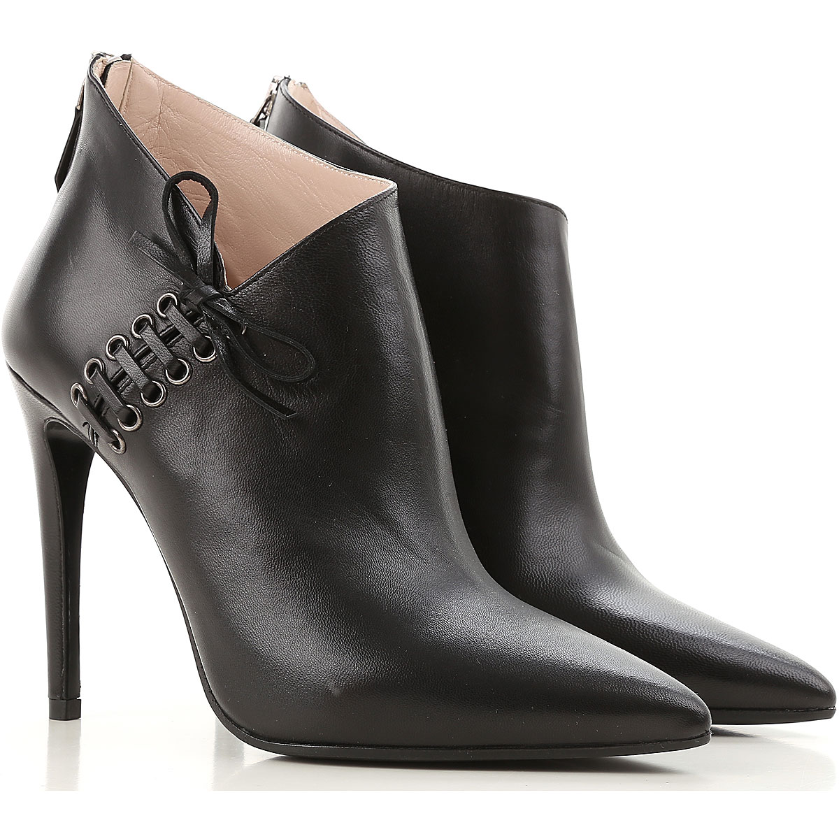 Miu Miu Boots for Women, Booties On Sale in Outlet, Black, Calfskin Leather, 2019, 5 8.5