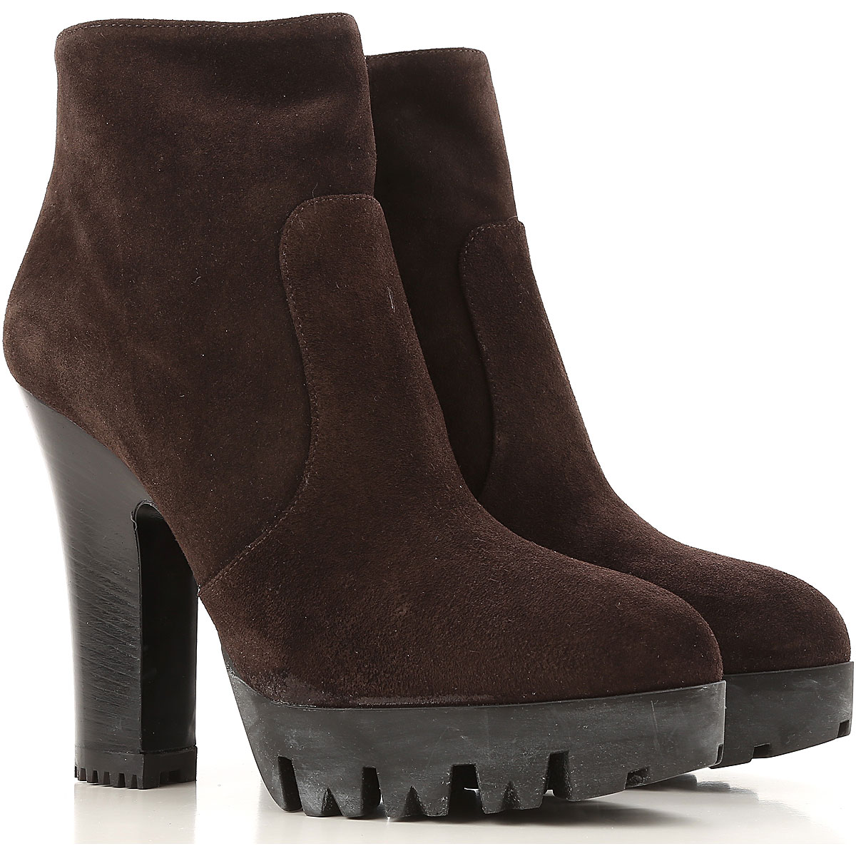 Miu Miu Boots for Women, Booties On Sale in Outlet, Dark Brown, Suede leather, 2019, 10 6.5