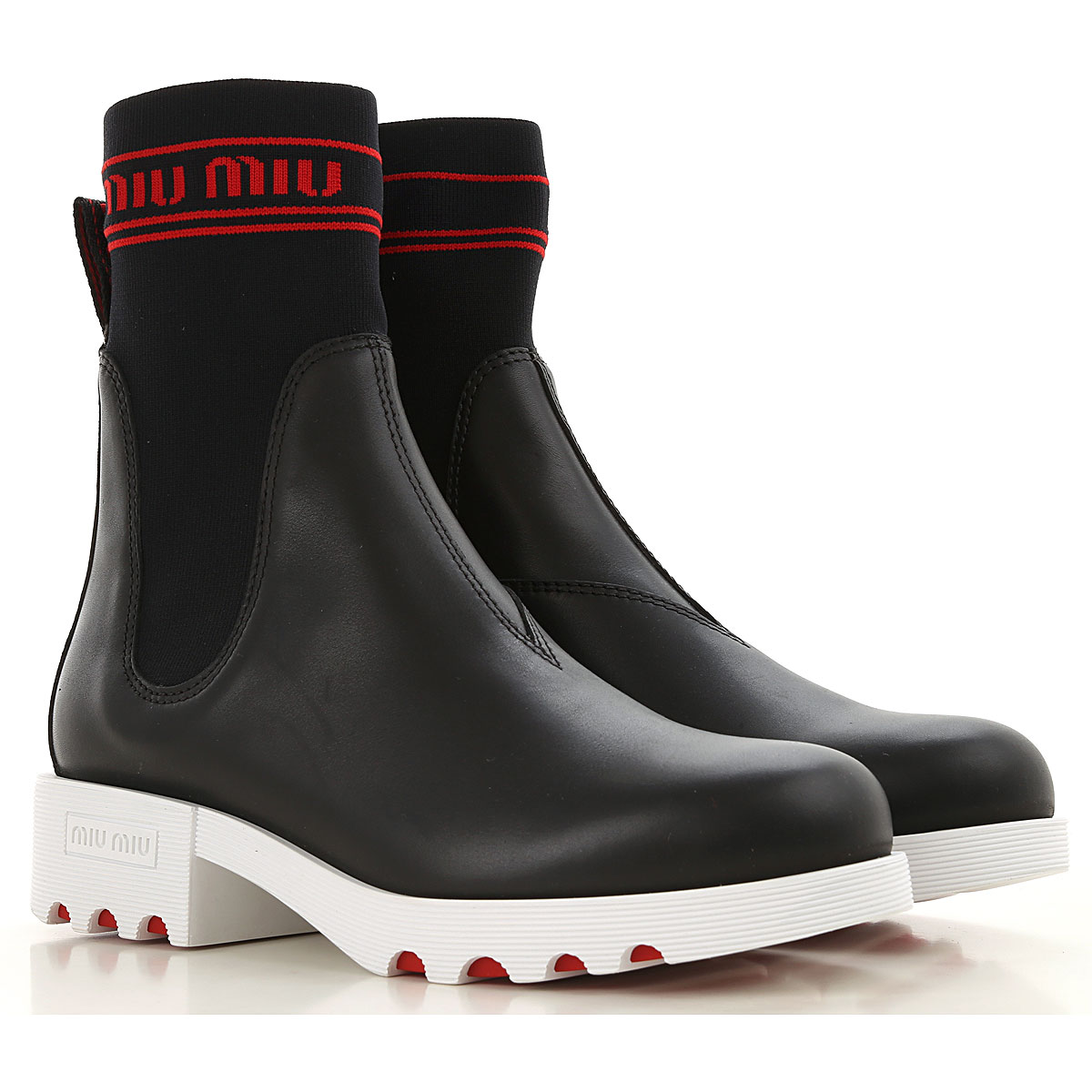 Image of Miu Miu Boots for Women, Booties, Black, Leather, 2017, 10 6 7 7.5 8 8.5