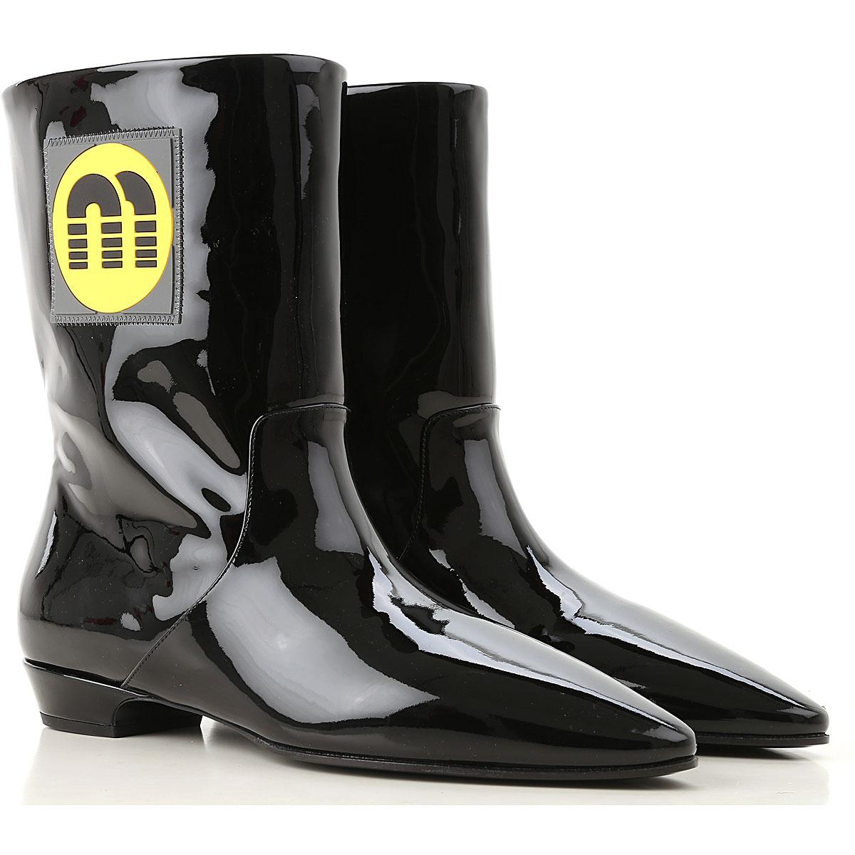 Image of Miu Miu Boots for Women, Booties, Black, Patent, 2017, 10 6 6.5 7.5 8 8.5 9