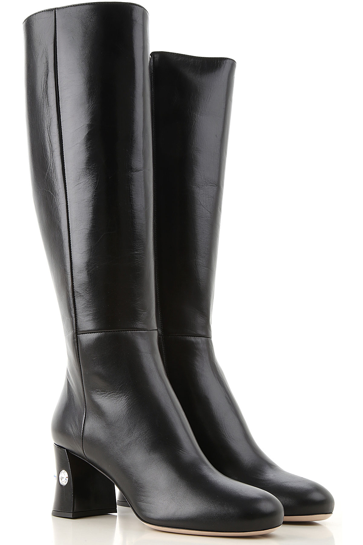 Miu Miu Boots for Women, Booties On Sale, Black, Leather, 2019, 10 6 6.5 7 7.5 8 8.5 9