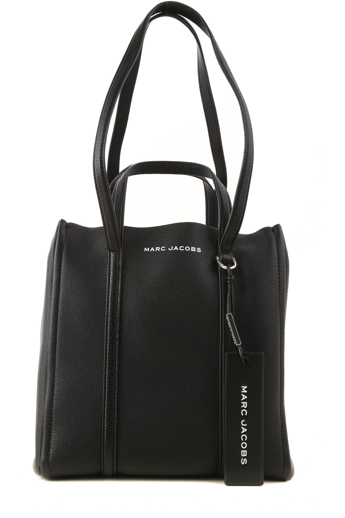 marc jacobs tote bag, black, leather, 2019