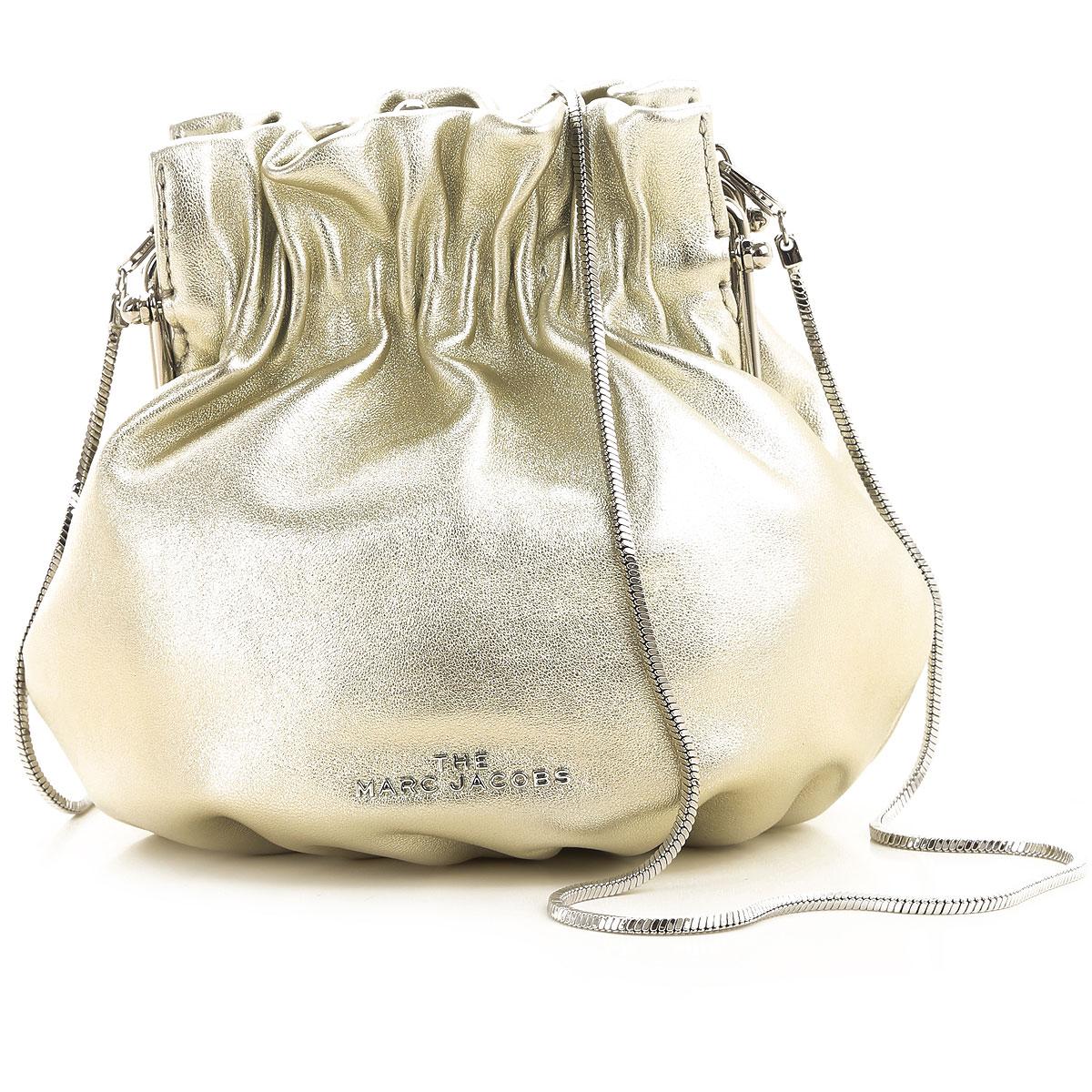 Marc Jacobs Clutch Bag On Sale, Platinum, Metallic Leather, 2019