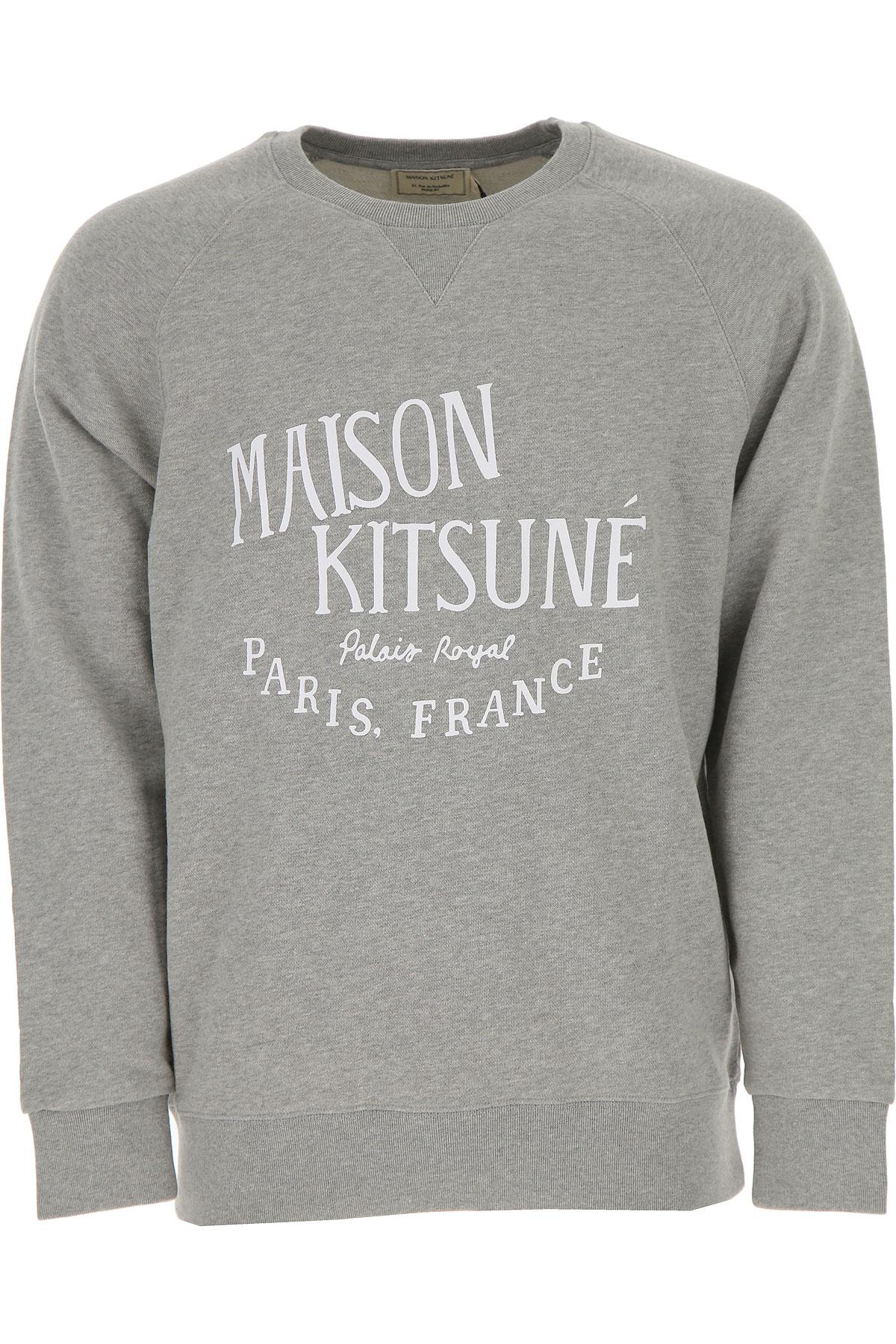 Maison Kitsune Sweatshirt for Men, Grey Light, Cotton, 2017, L M S XL USA-450388