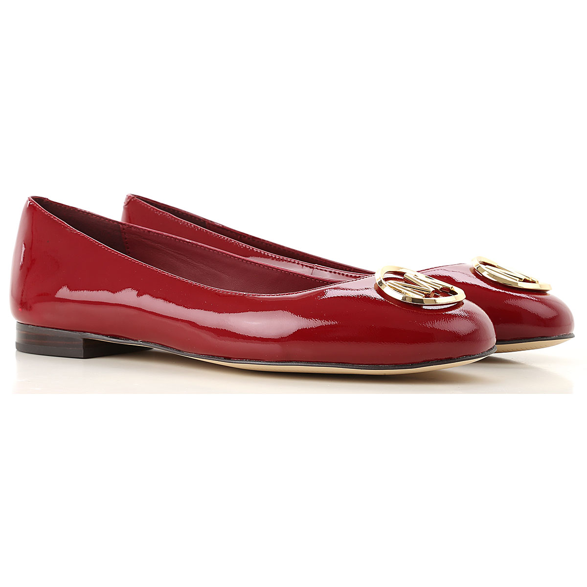 Image of Michael Kors Ballet Flats Ballerina Shoes for Women, Maroon, Patent Leather, 2017, 5.5 6 6.5 7