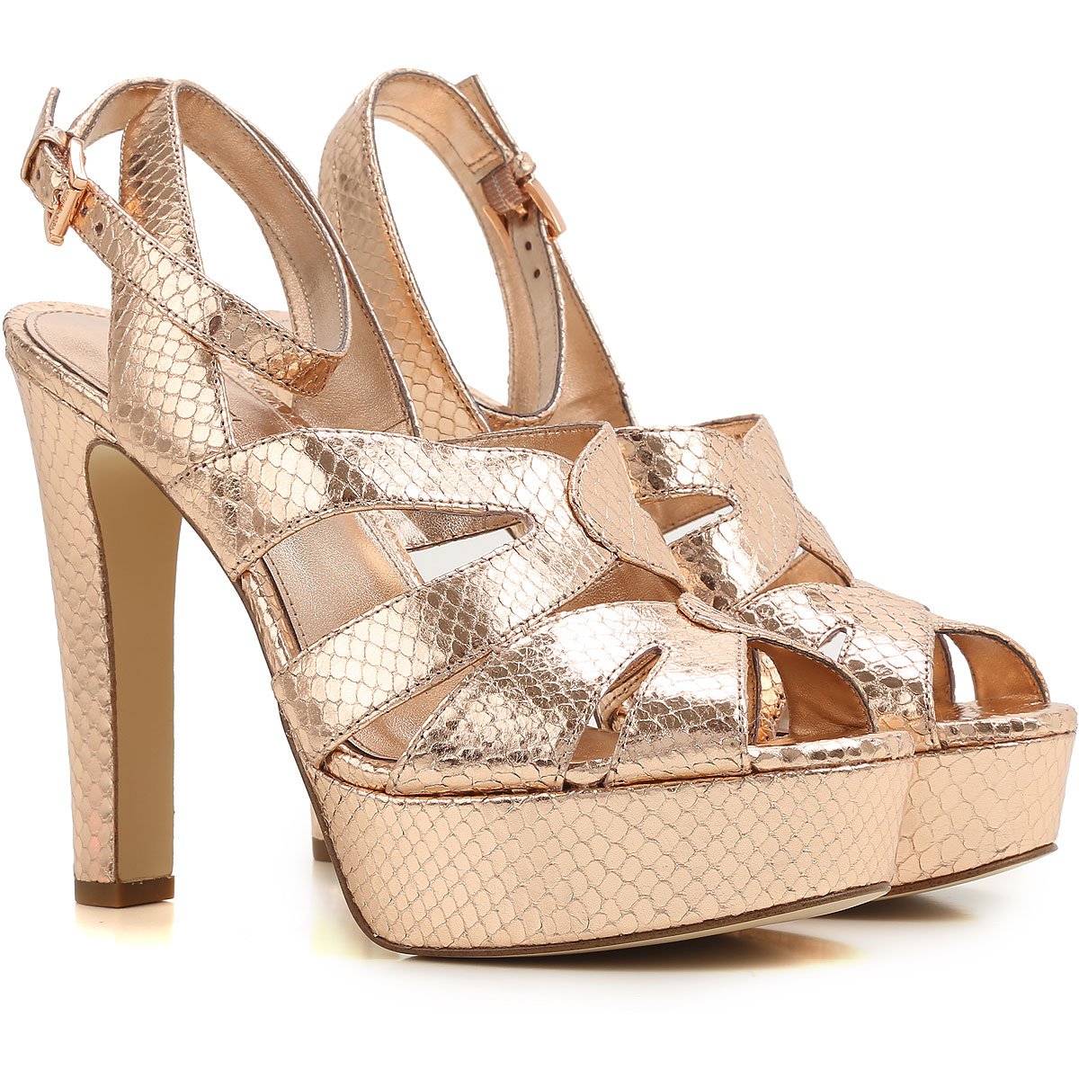 Michael Kors Sandals for Women On Sale, Golden Pink, Patent Leather, 2017, 3.5