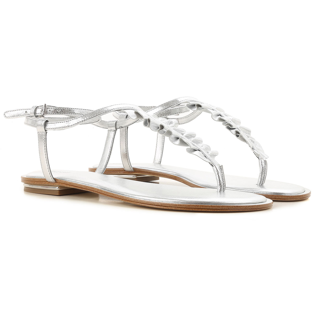 Michael Kors Sandals for Women On Sale in Outlet, Silver, Leather, 2019, 3.5 4