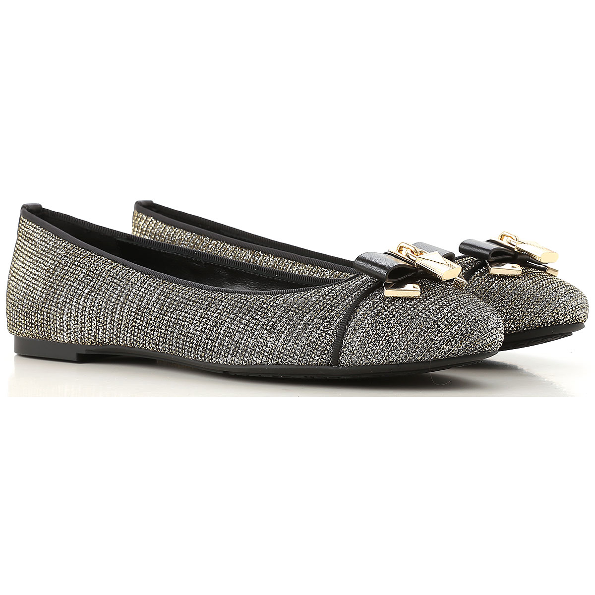 Image of Michael Kors Ballet Flats Ballerina Shoes for Women, Black, Leather, 2017, 6 6.5