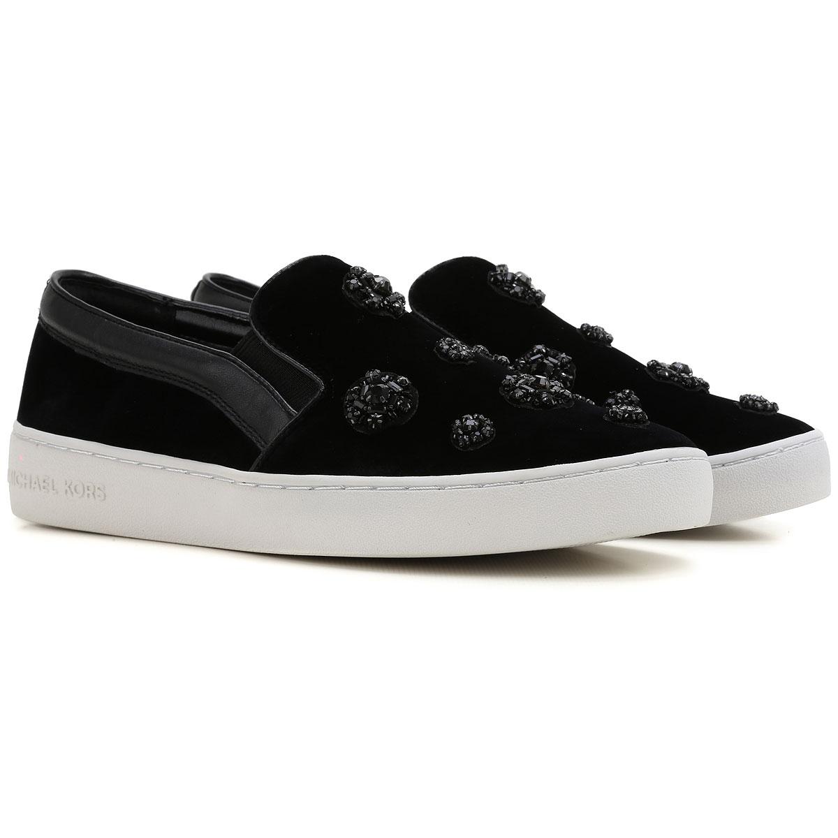 Michael Kors Slip on Sneakers for Women On Sale in Outlet, Black, Velvet, 2019, 6.5