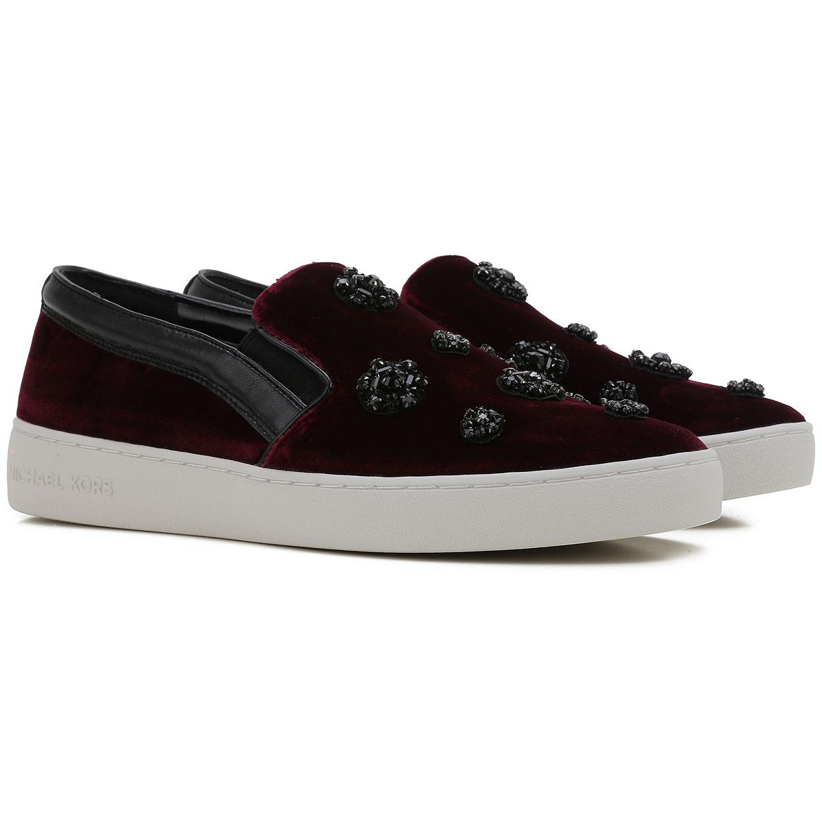 Michael Kors Slip on Sneakers for Women On Sale in Outlet, Plum, Velvet, 2019, 3.5 4