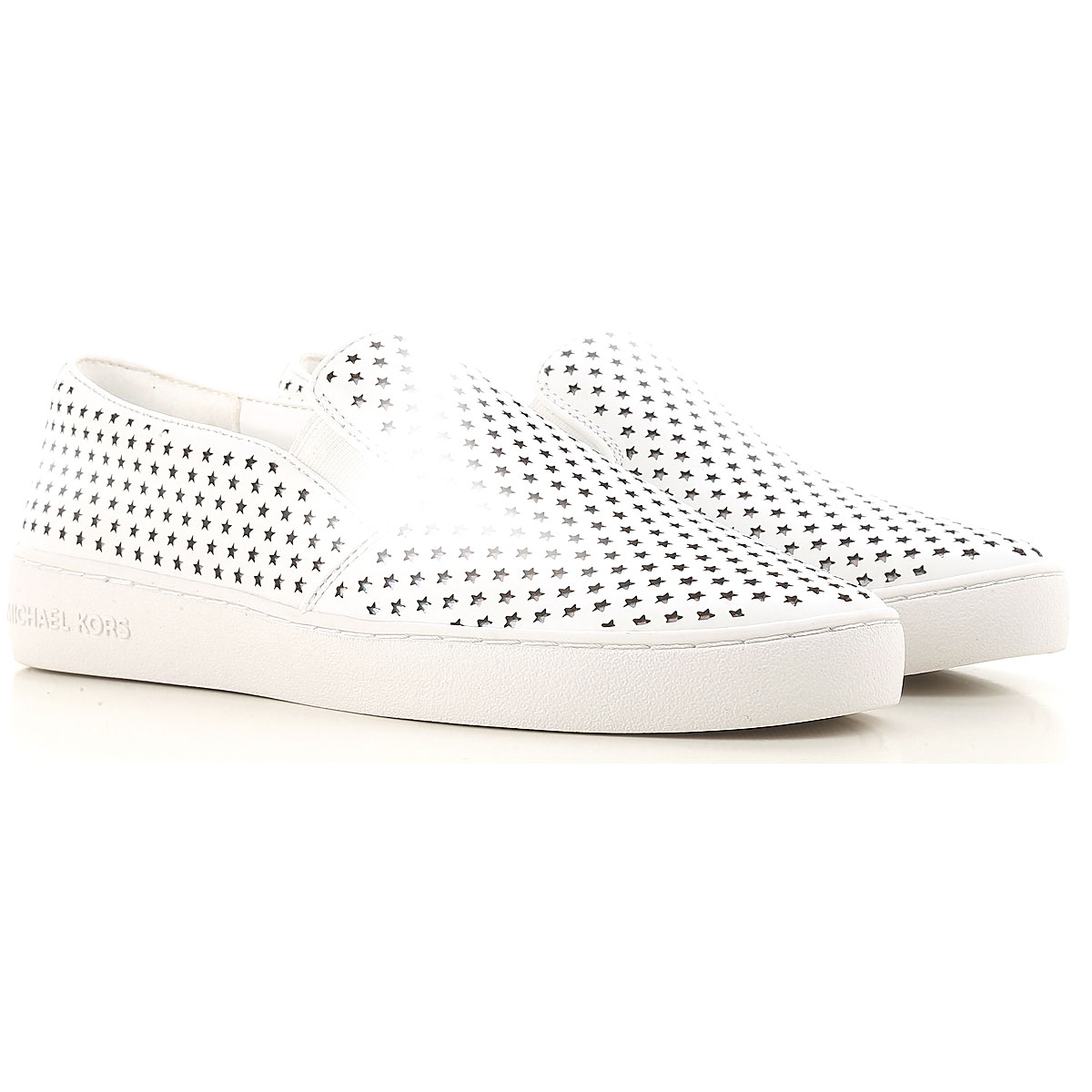 Michael Kors Slip on Sneakers for Women On Sale in Outlet, White, Leather, 2019, 4 4.5
