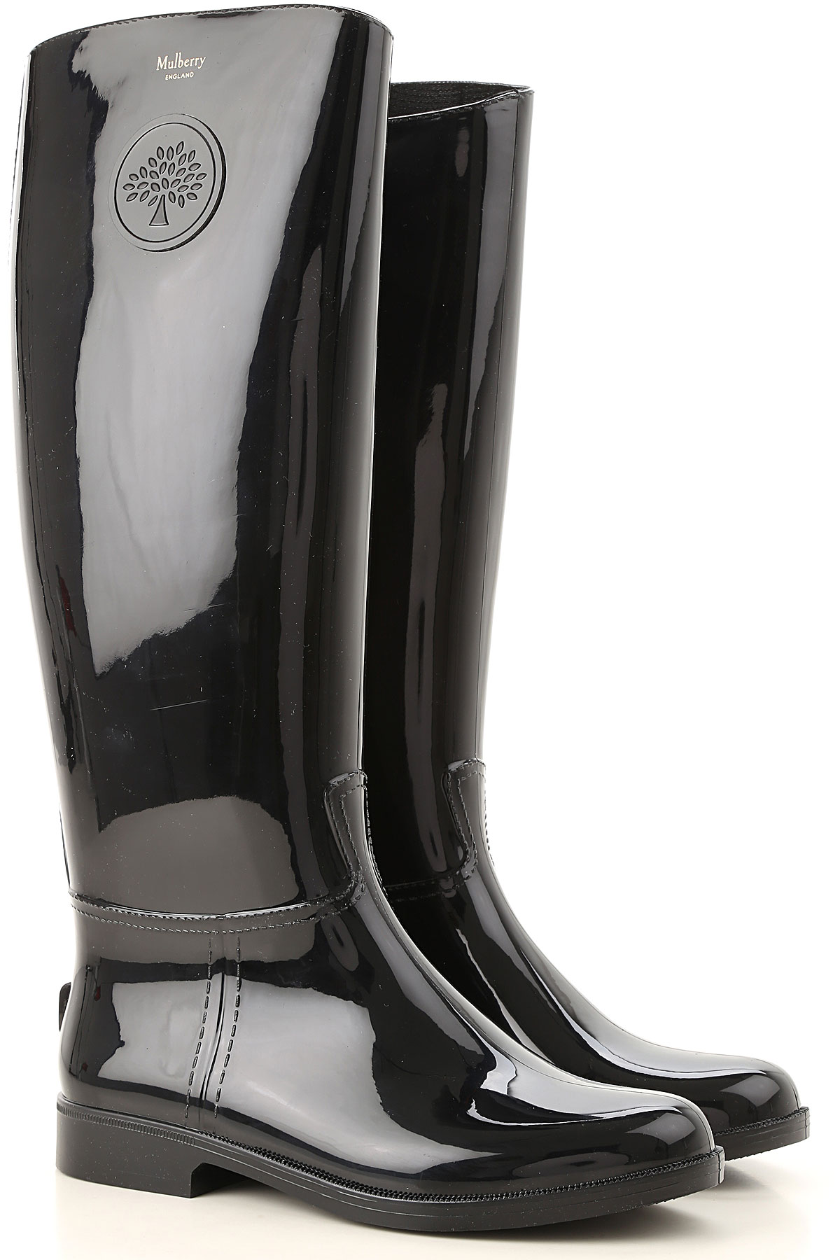 Image of Mulberry Boots for Women, Booties, Black, PVC, 2017, 10 6 7 8 9