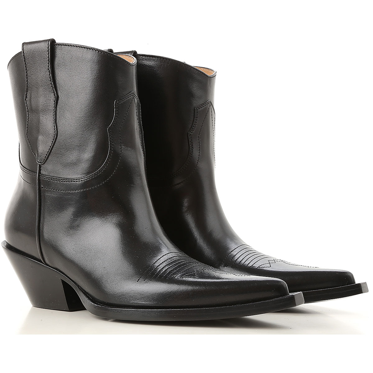 Image of Maison Martin Margiela Boots for Women, Booties, Black, Leather, 2017, 10 6 7 8