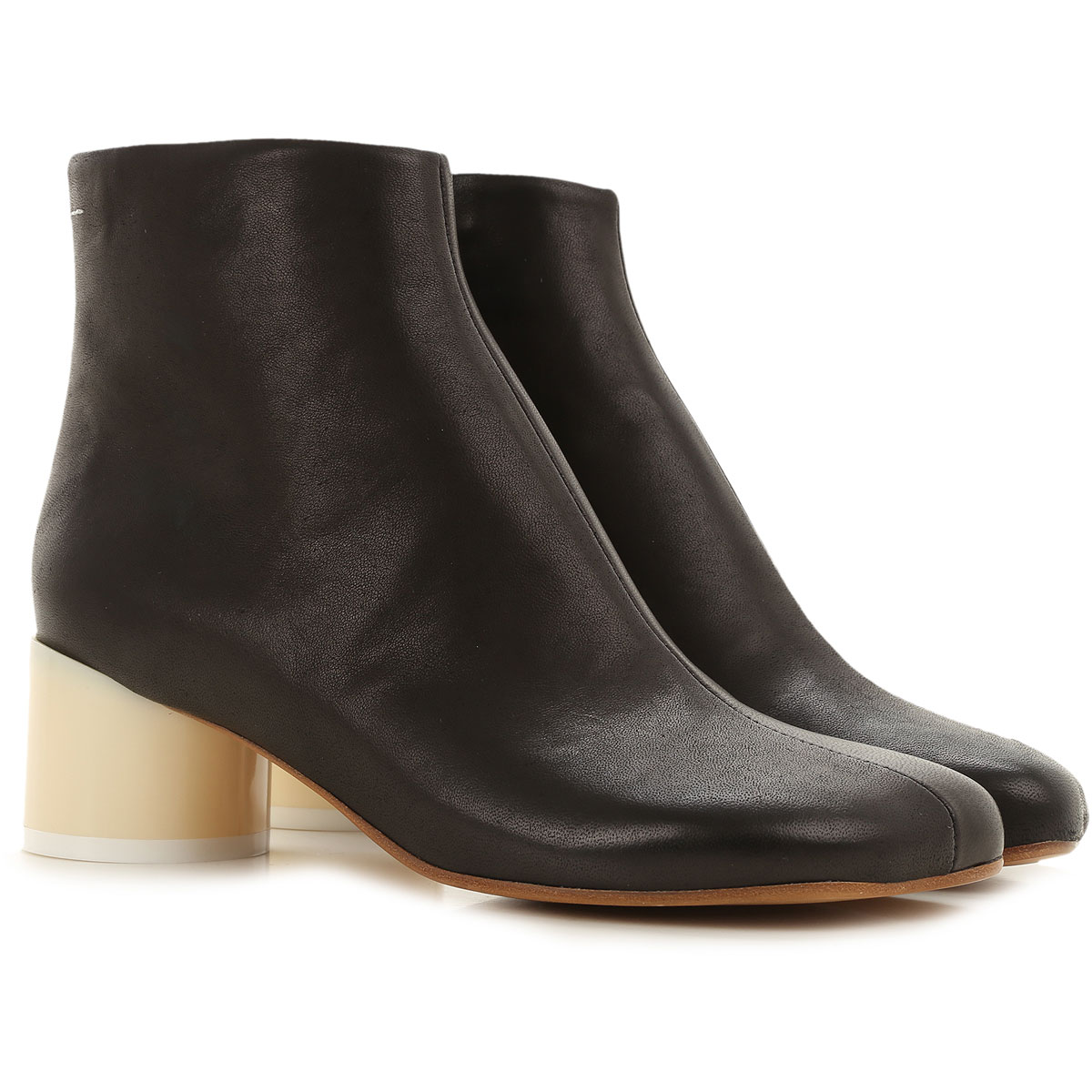 Maison Martin Margiela Boots For Women, Booties On Sale, Black, Leather, 2019, 6