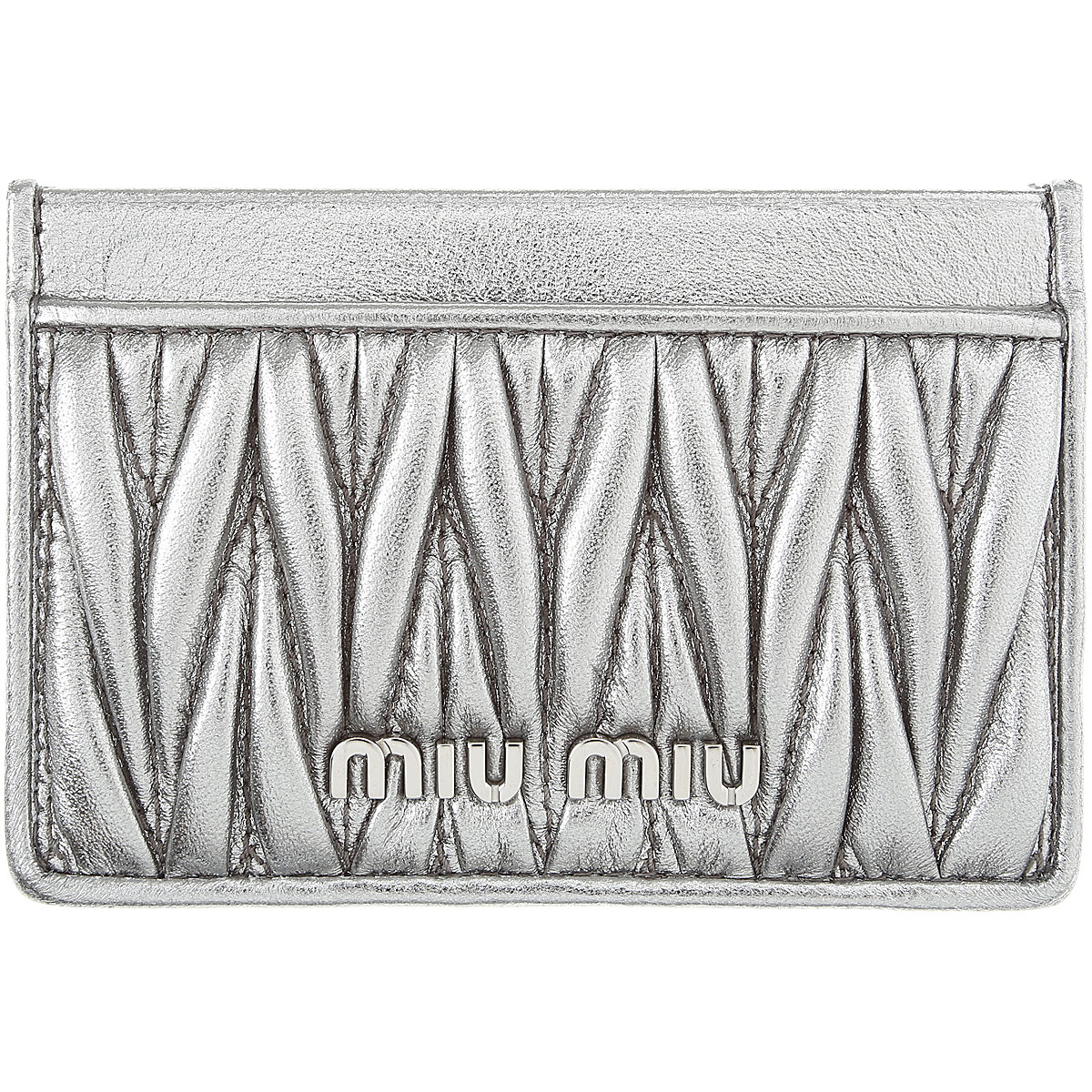 Miu Miu Card Holder for Women On Sale, Silver, Leather, 2019