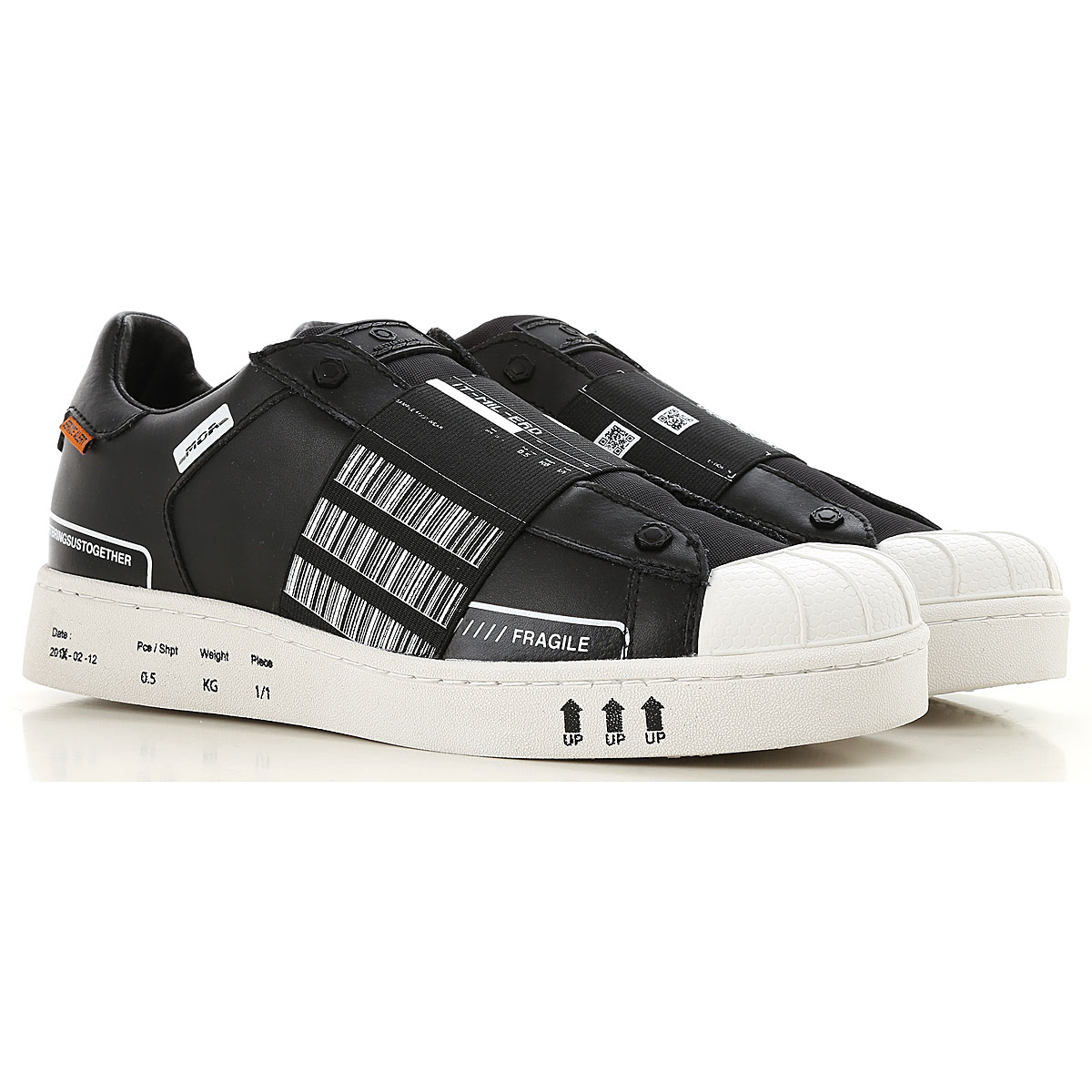 Image of Moa Master of Arts Slip on Sneakers for Men, Black, Leather, 2017, 10.5 7.5 8 9