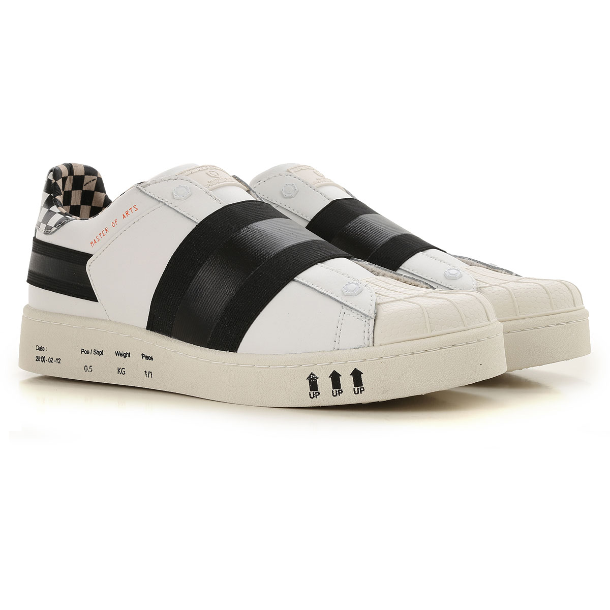 Image of Moa Master of Arts Slip on Sneakers for Men, White, Leather, 2017, 10.5 7.5 8 9