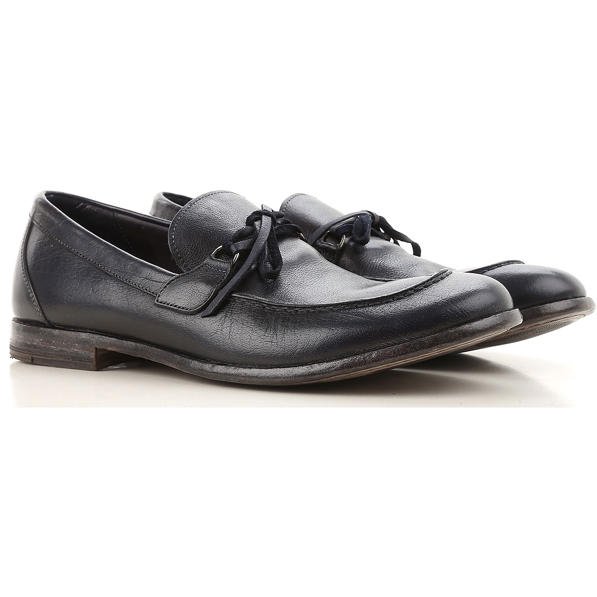 Image of Moma Loafers for Men On Sale, Dark Blue, Leather, 2017, 7.5 8 9