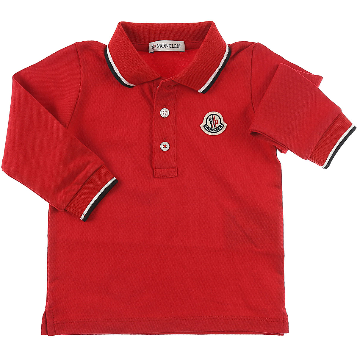 Image of Moncler Baby Polo Shirt for Boys, Red, Cotton, 2017, 12M 6M 9M