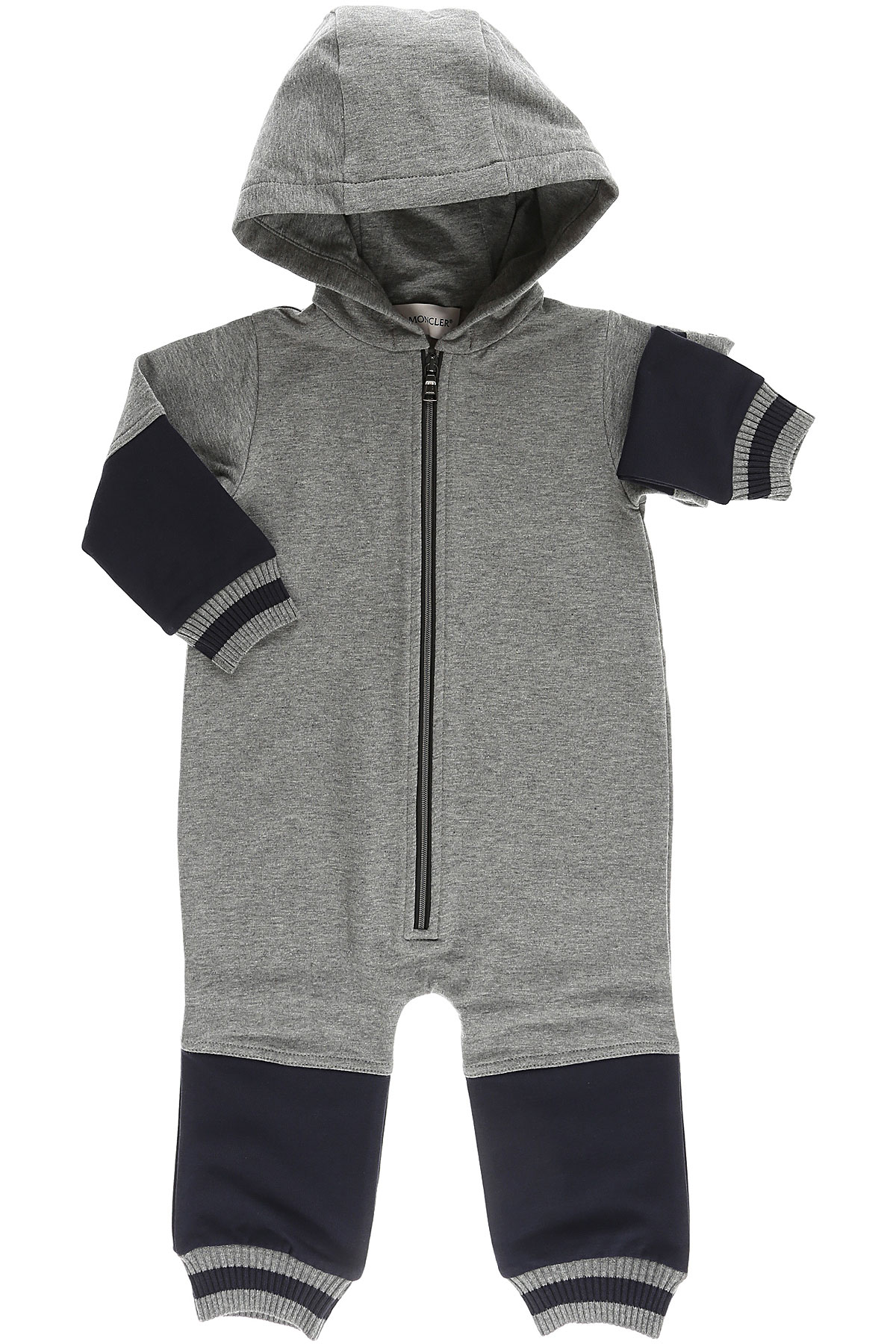 Image of Moncler Baby Bodysuits & Onesies for Boys, Grey, Cotton, 2017, 12M 3M 9M