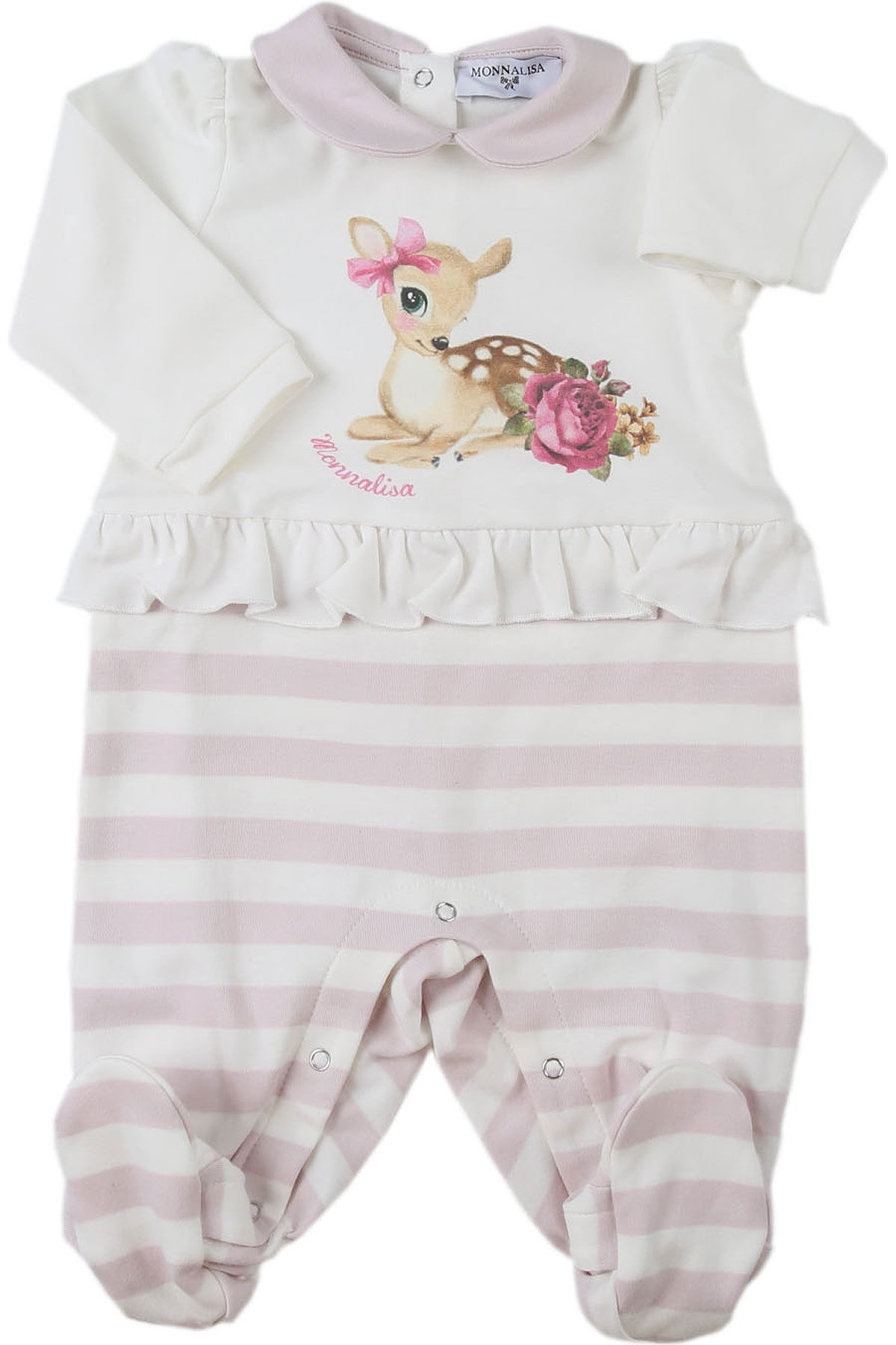 Monnalisa Baby Bodysuits & Onesies for Girls On Sale, Cream, Cotton, 2019, 1M 3M