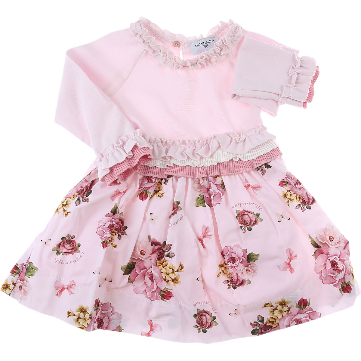 Monnalisa Baby Dress for Girls On Sale, Pink, Viscose, 2019, 12M 18M 2Y 6M 9M