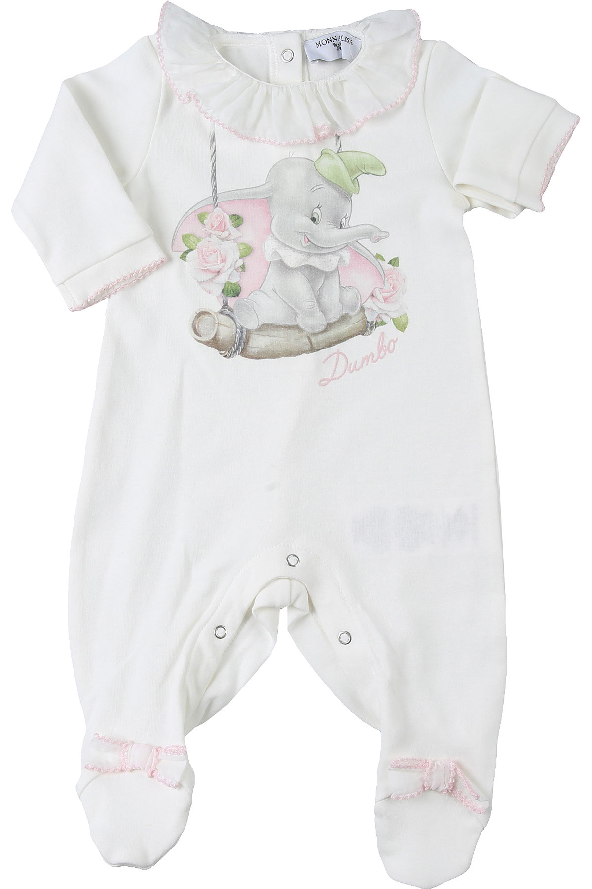 Monnalisa Baby Bodysuits & Onesies for Girls On Sale, White, Cotton, 2019, 1M 3M 6M