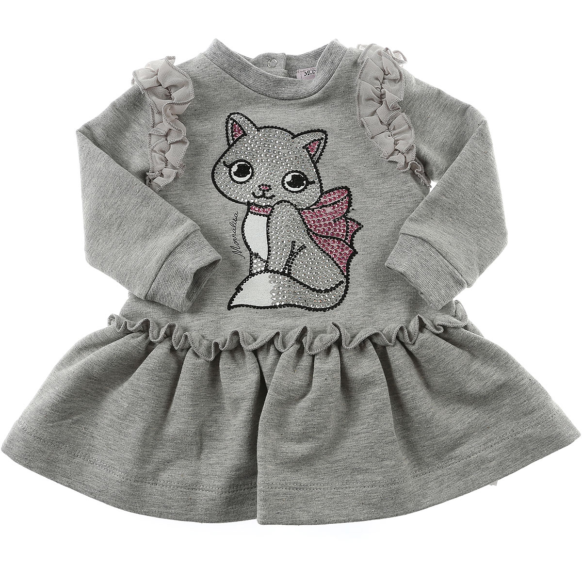 Monnalisa Baby Dress for Girls On Sale in Outlet, Grey, Cotton, 2019, 6M 9M