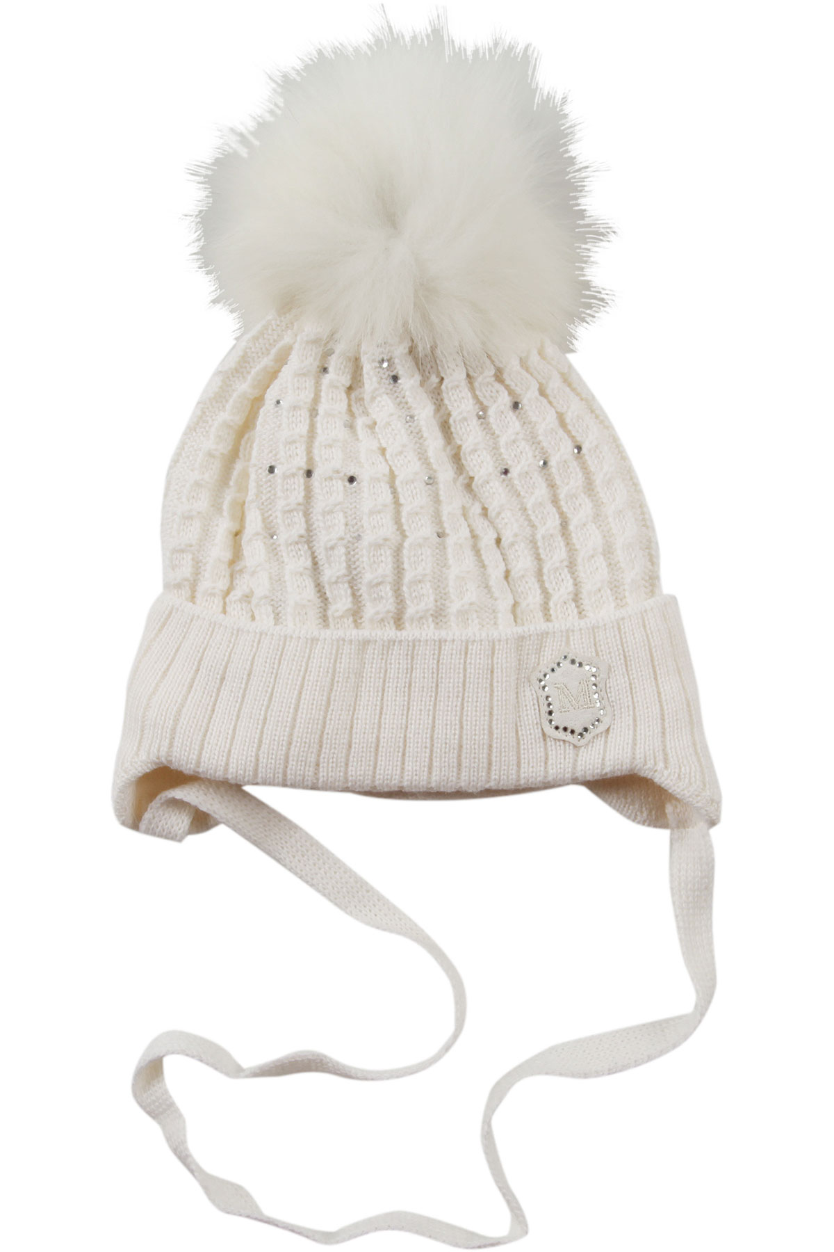 Image of Monnalisa Baby Hats for Girls, Cream, Acrylic, 2017, 12M 18M 2Y 6M 9M