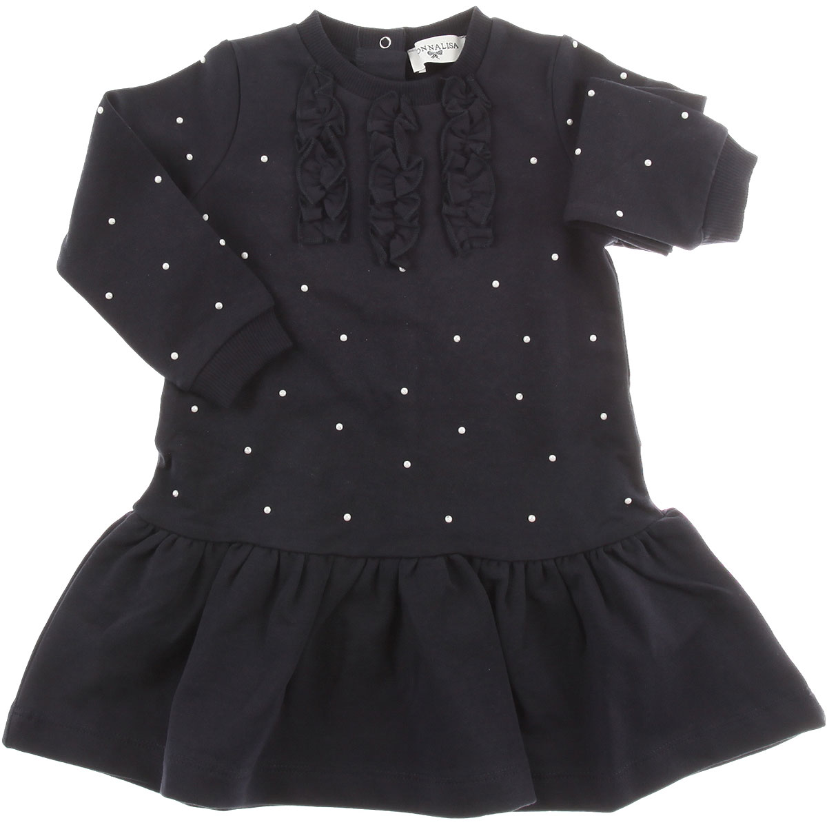 Image of Monnalisa Baby Dress for Girls, Navy Blue, Cotton, 2017, 12M 18M 2Y 3Y 6M 9M